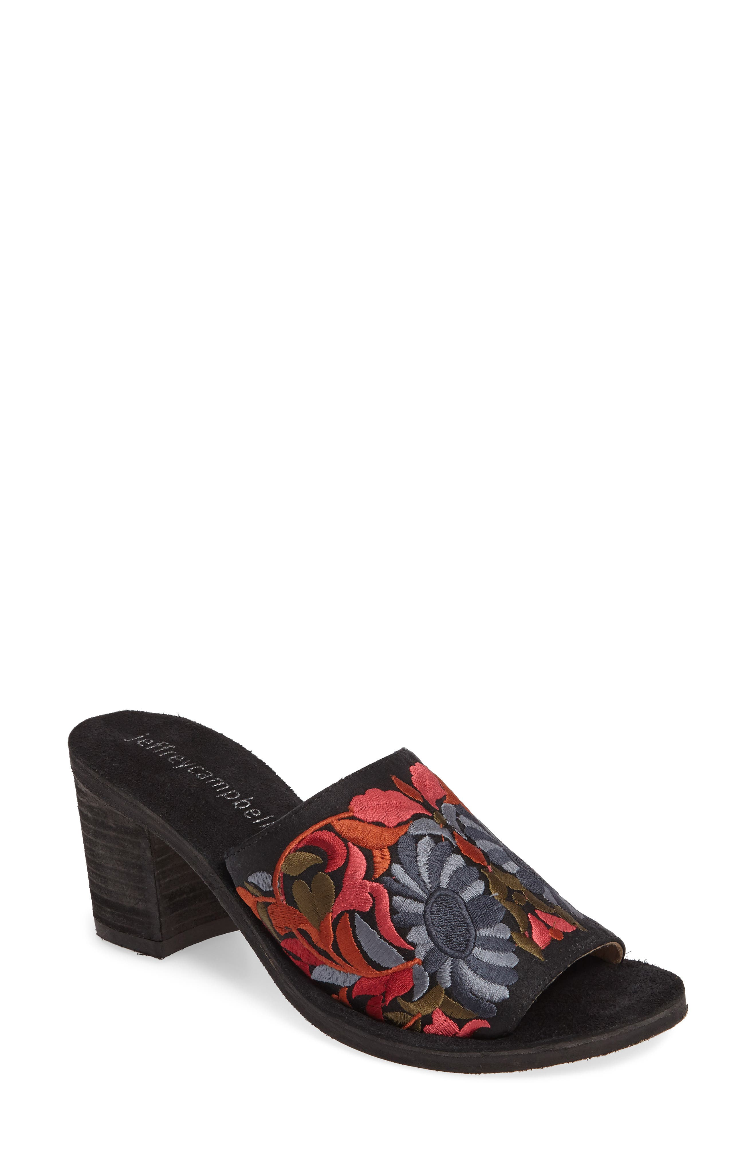 Jeffrey Campbell Pushpita Embroidered Slide Sandal (Women)