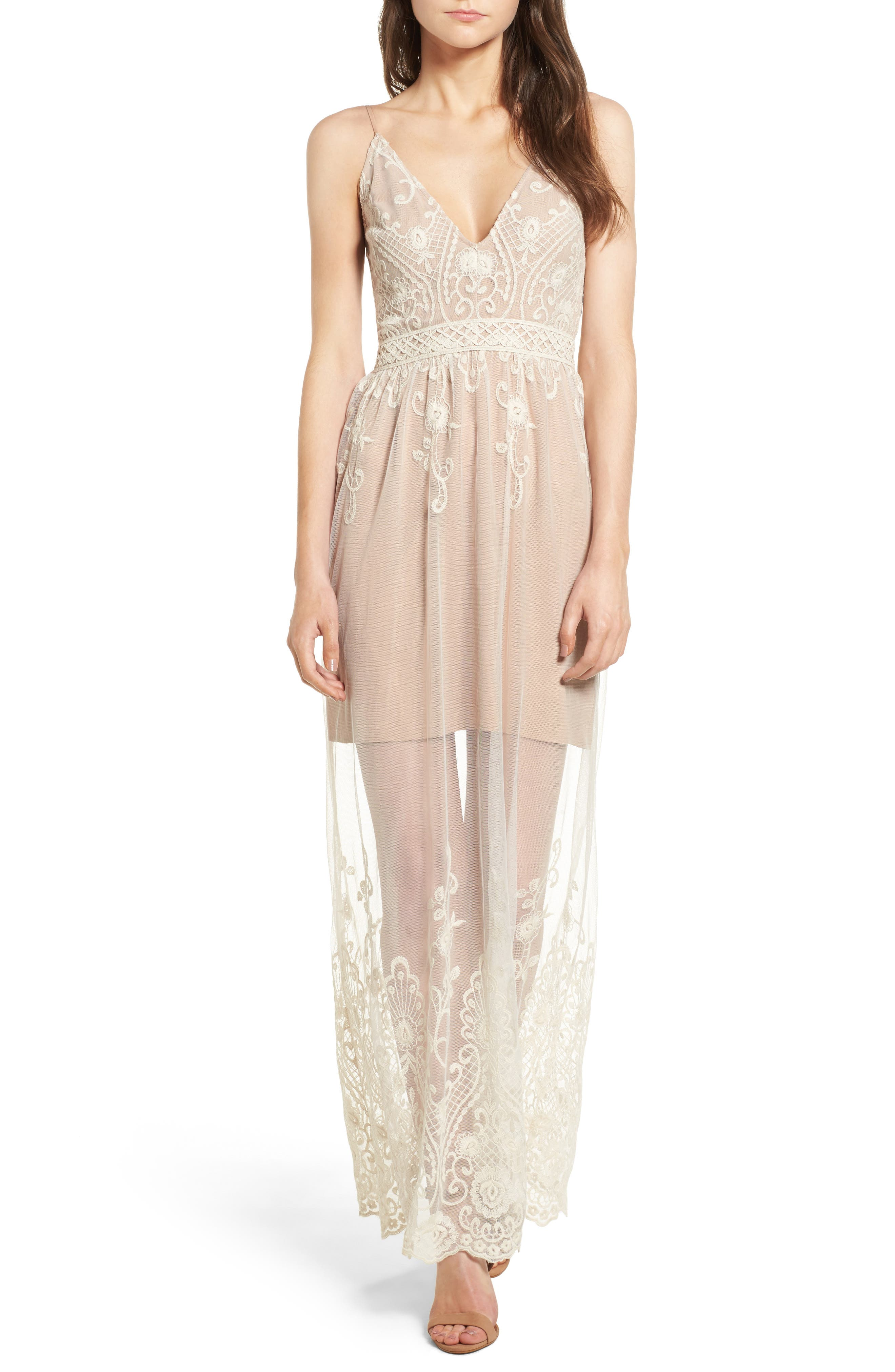 WAYF Clara Embroidered Mesh Maxi Dress