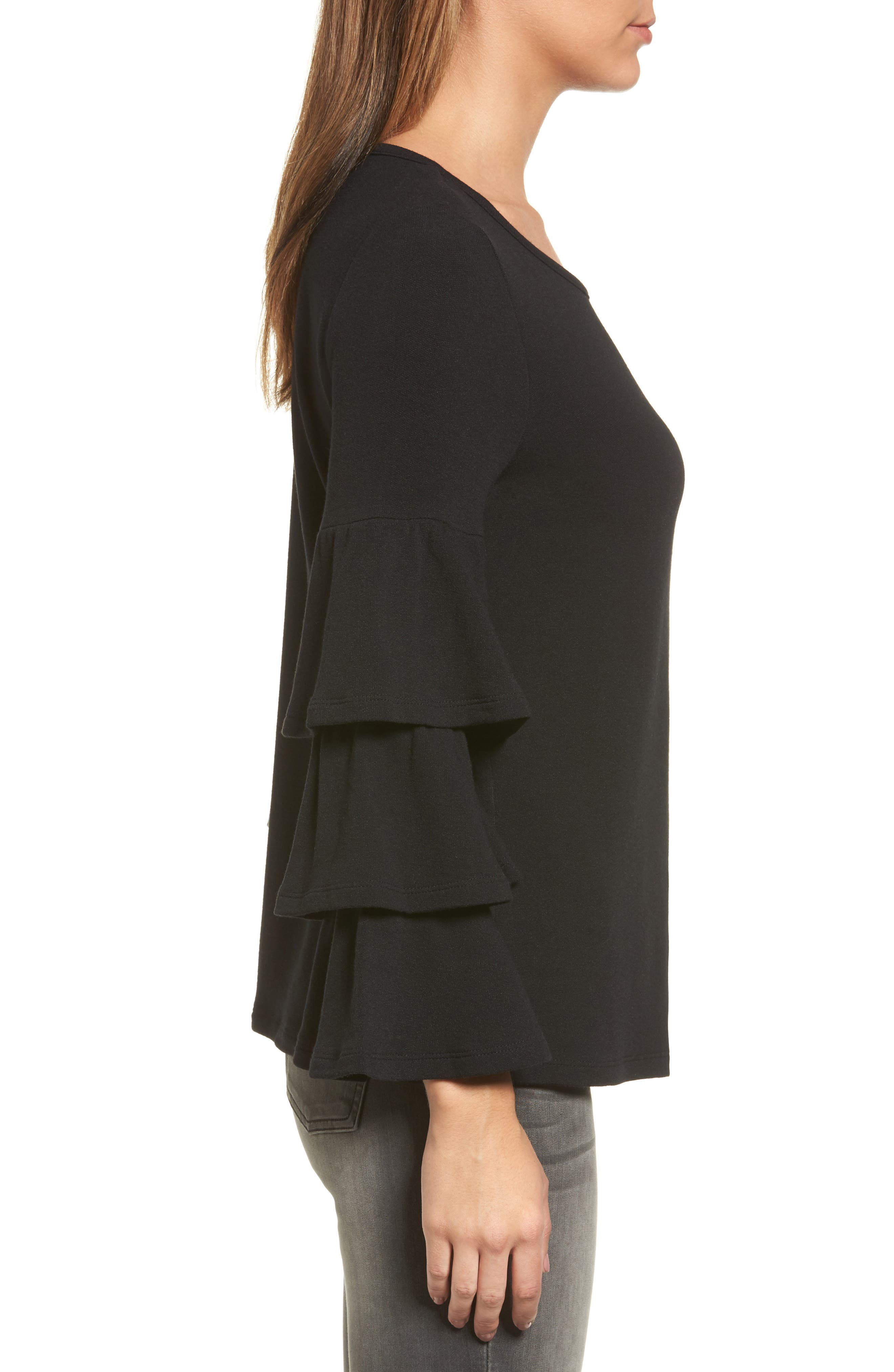 Alternate Image 3  - Pleione Tiered Bell Sleeve Knit Top (Regular & Petite)