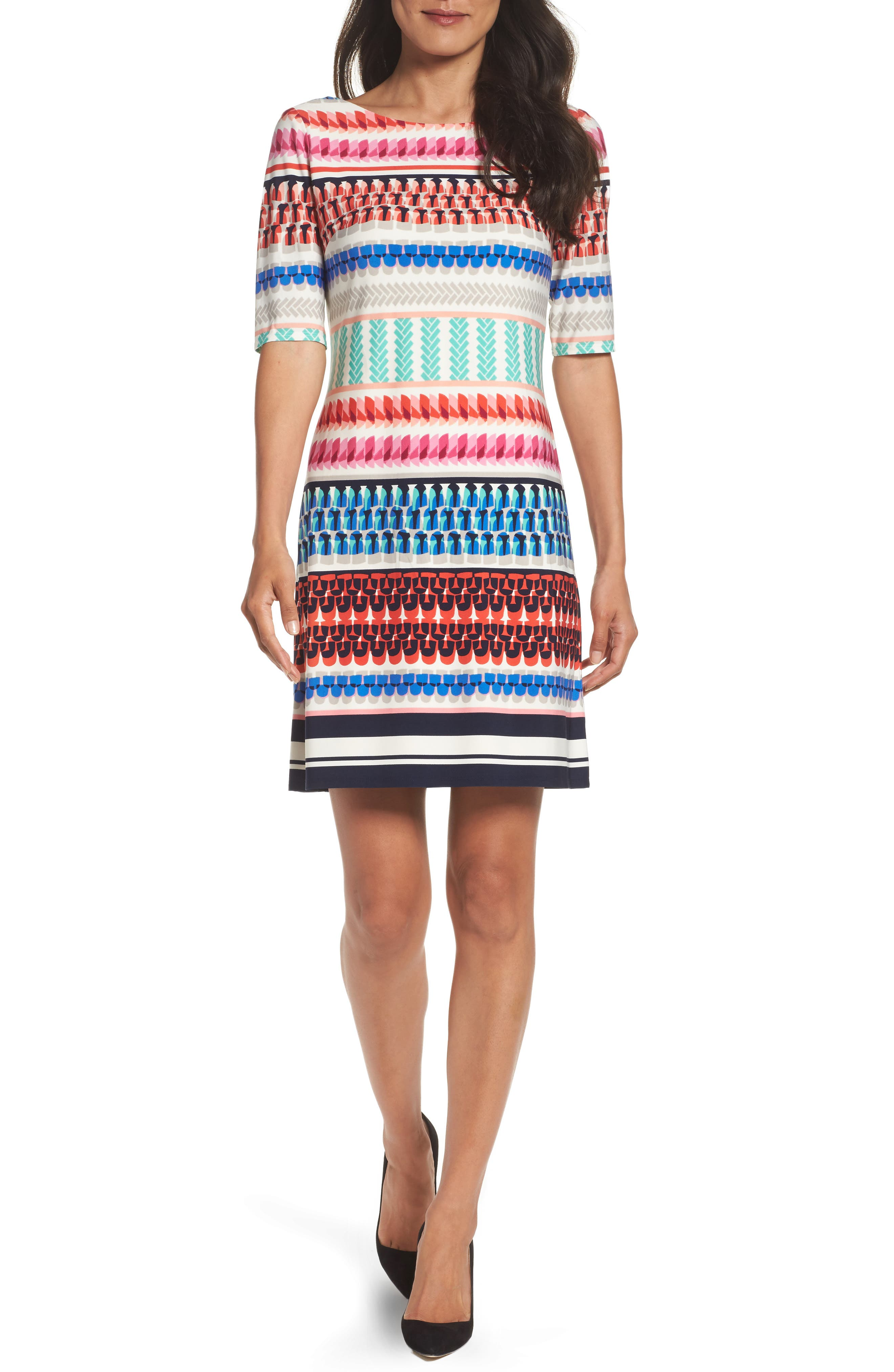 Eliza J Print Shift Dress (Regular & Petite)