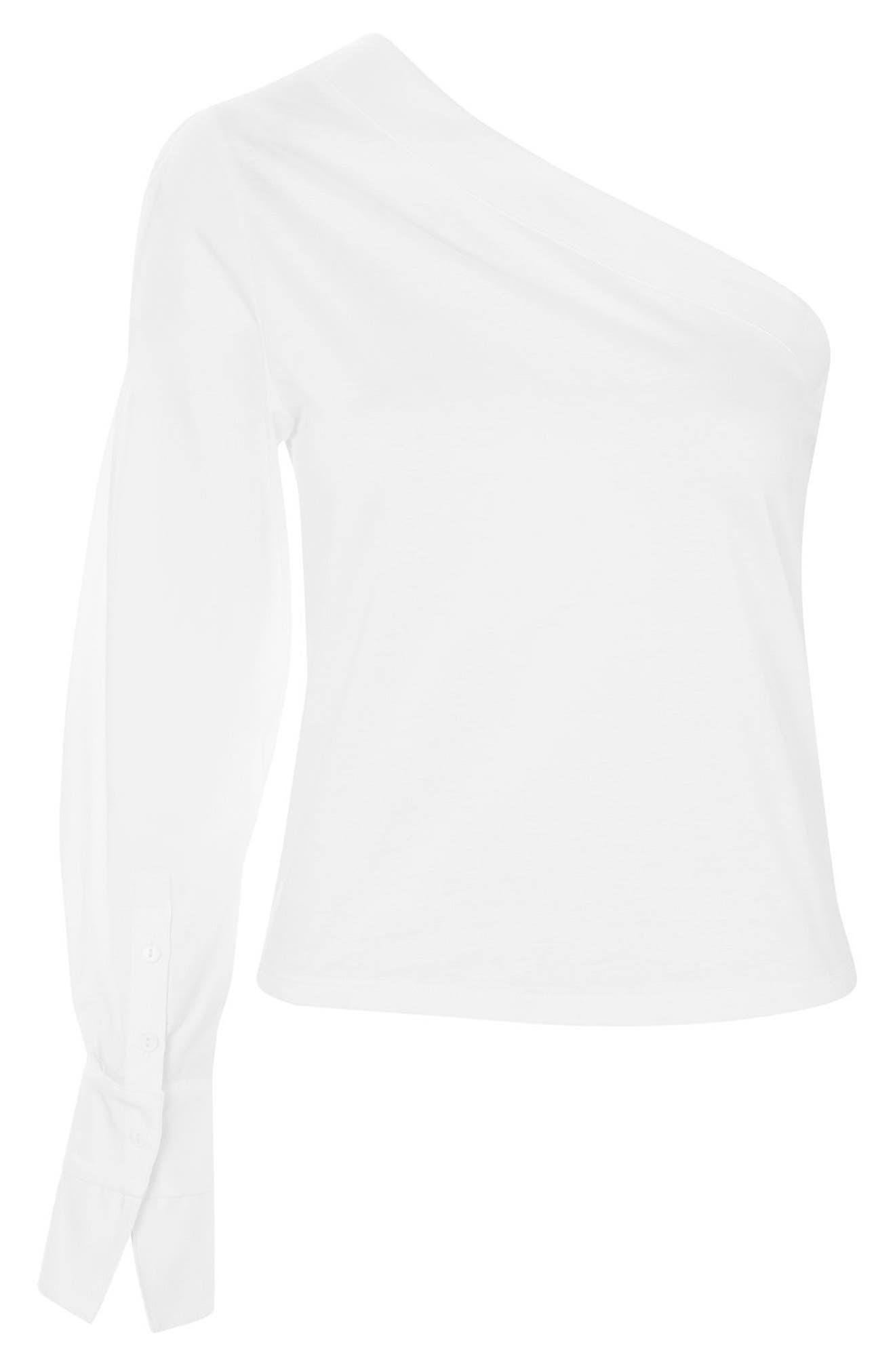 Alternate Image 4  - Topshop One-Shoulder Jersey Top