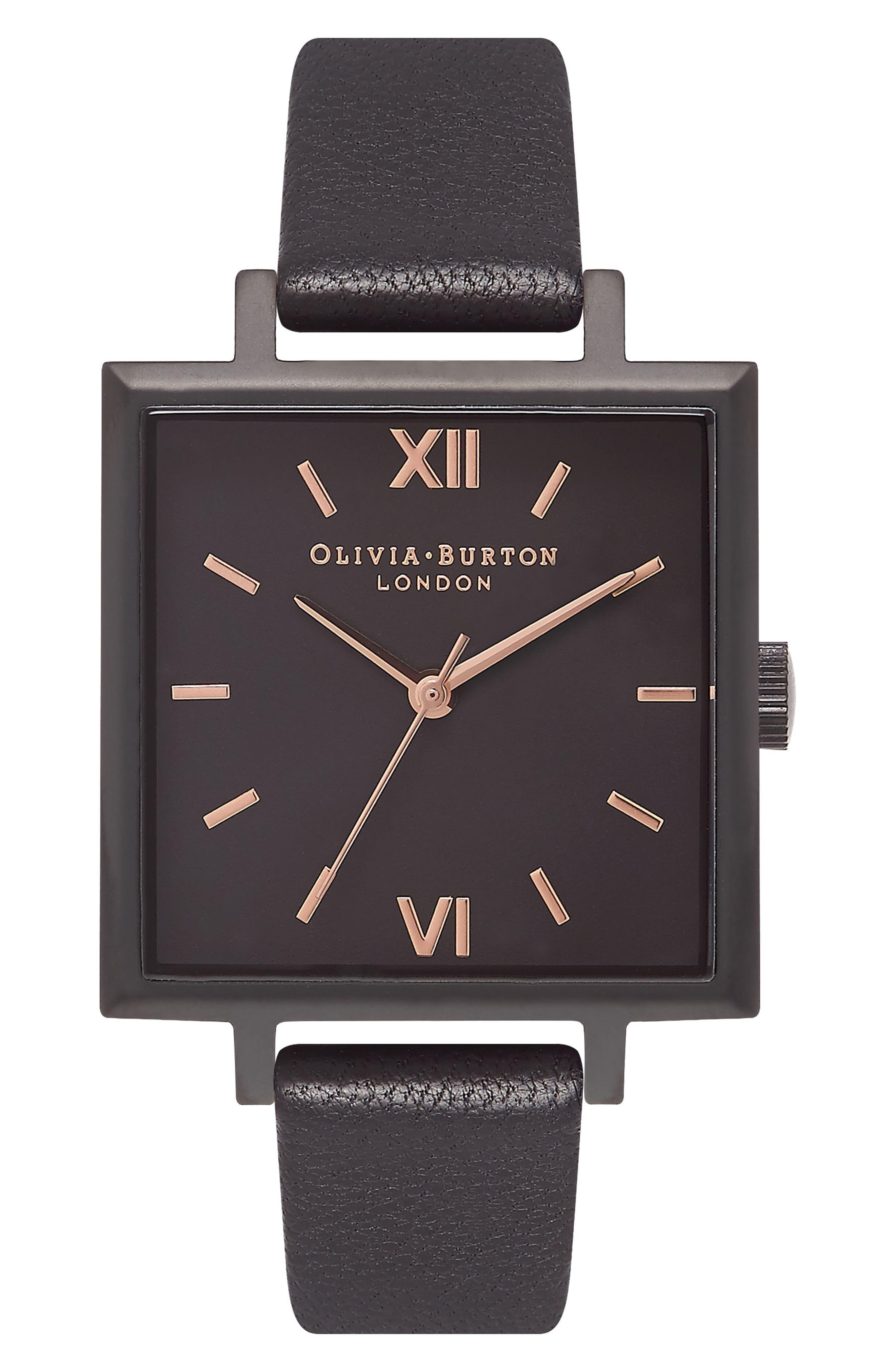 Olivia Burton Big Square Leather Strap Watch, 30mm