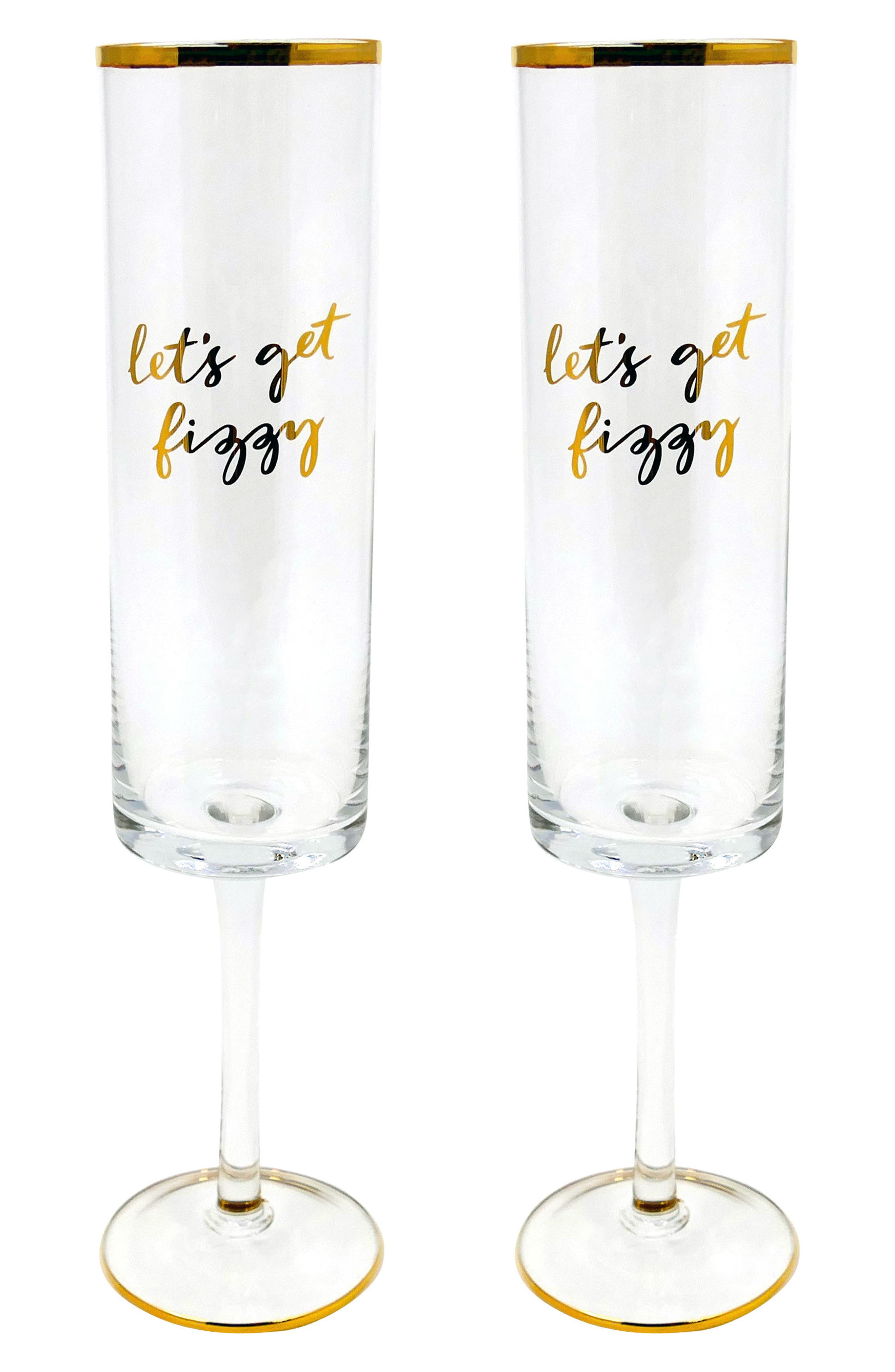 Rosanna Let's Get Fizzy/Get Bubbly With Me Set of 2 Champagne Flutes