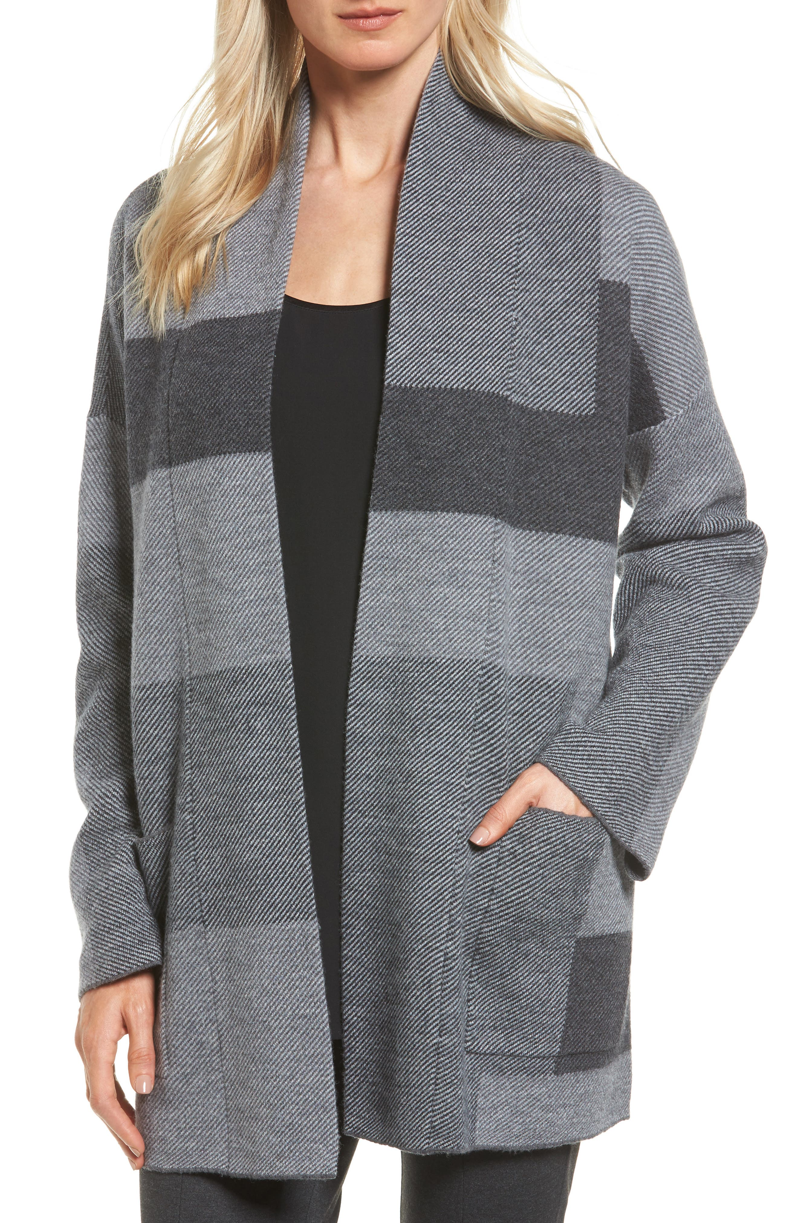 Eileen Fisher Colorblock Merino Wool Coat (Regular & Petite)