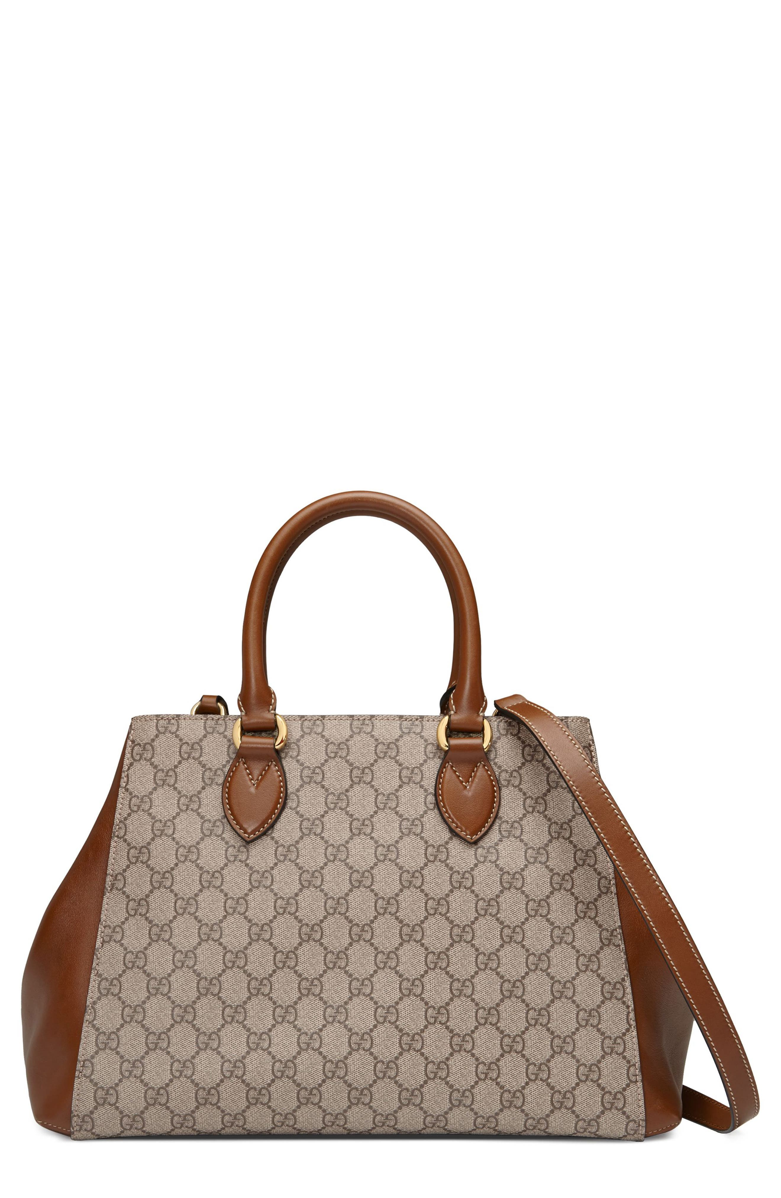 Gucci Large Top Handle GG Supreme Canvas & Leather Bag