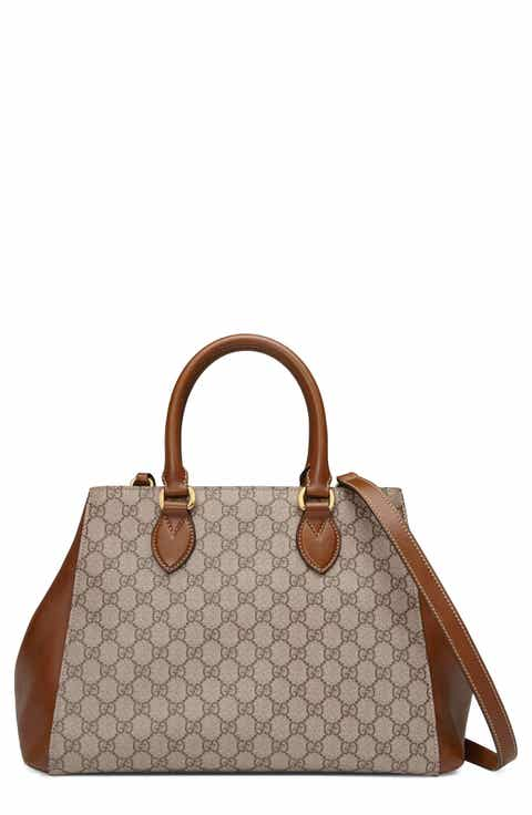 Gucci Large Top Handle GG Supreme Canvas   Leather Bag