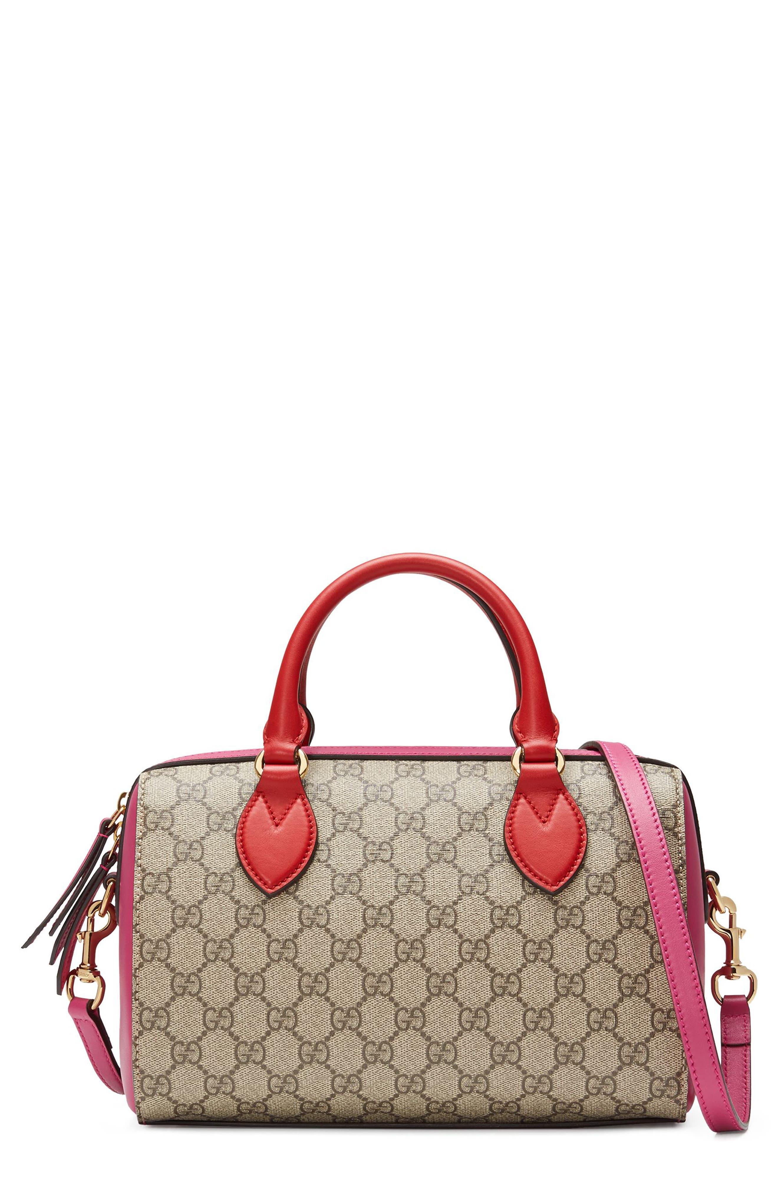 Gucci Top Handle GG Supreme Canvas & Leather Bag