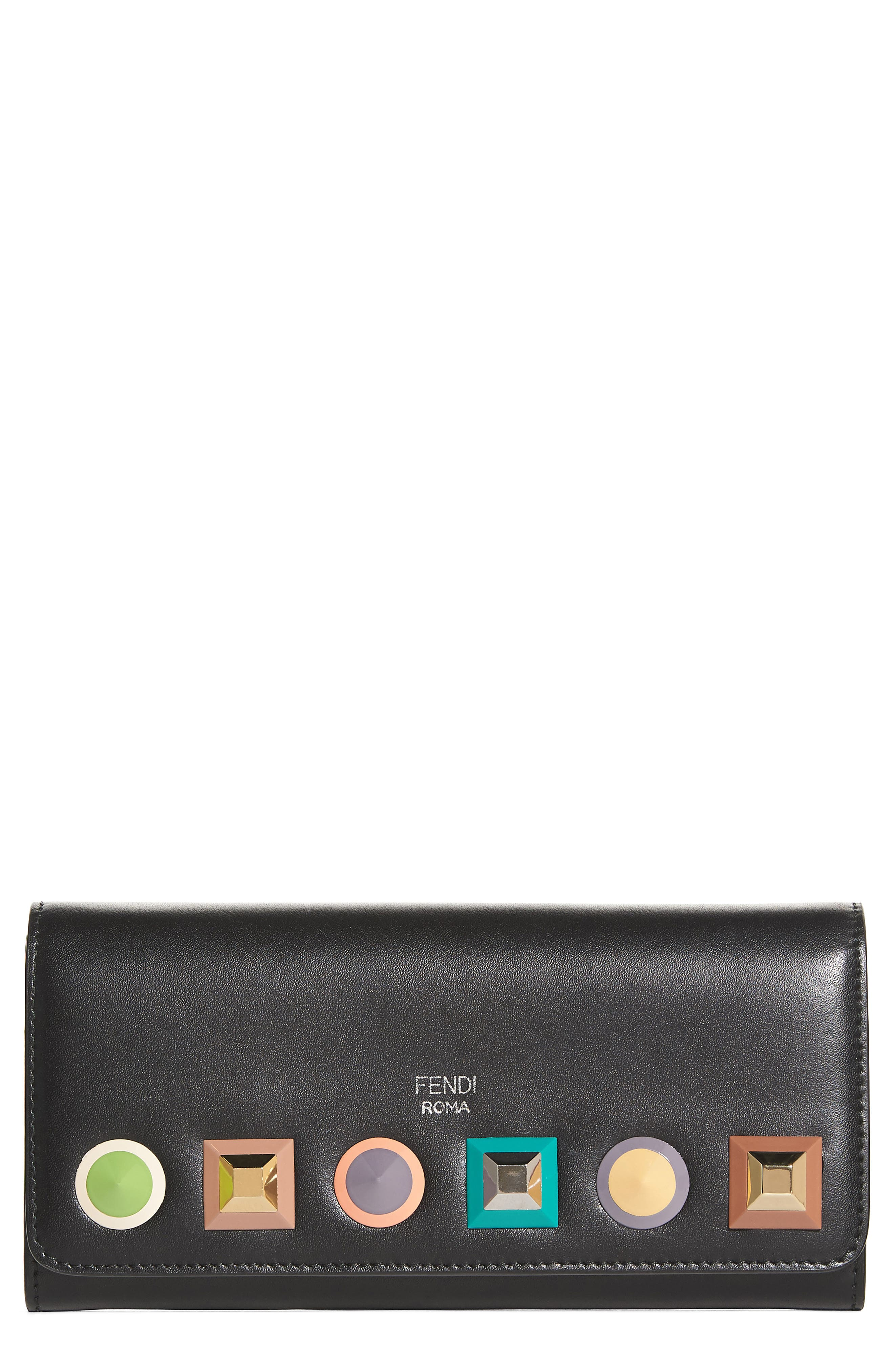 Fendi Rainbow Stud Calfskin Leather Wallet on a Chain