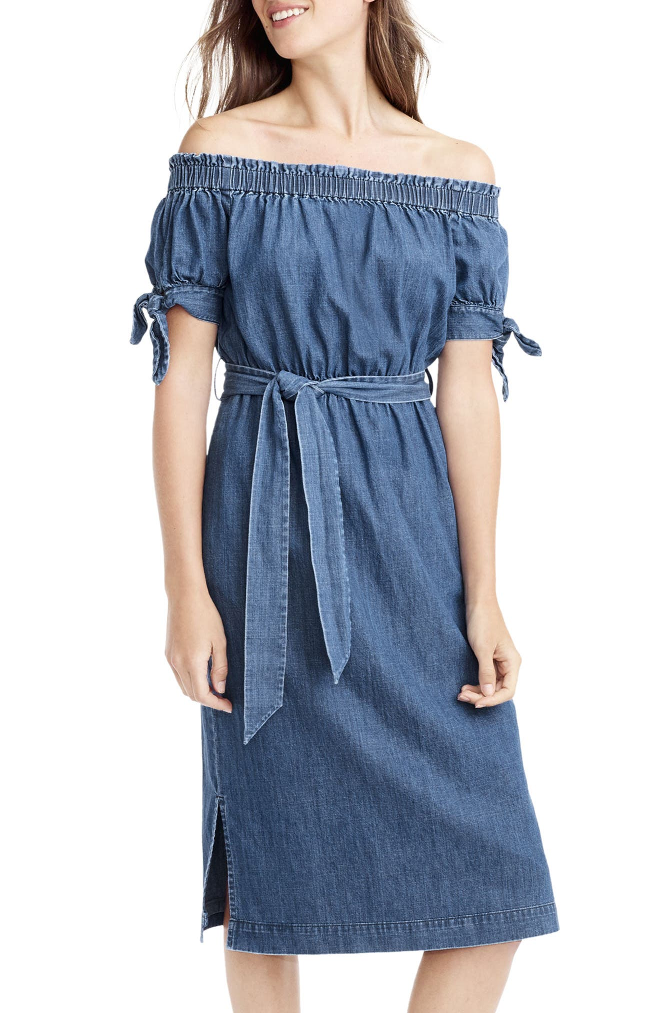 Main Image - J.Crew Tie Waist Chambray Off the Shoulder Dress