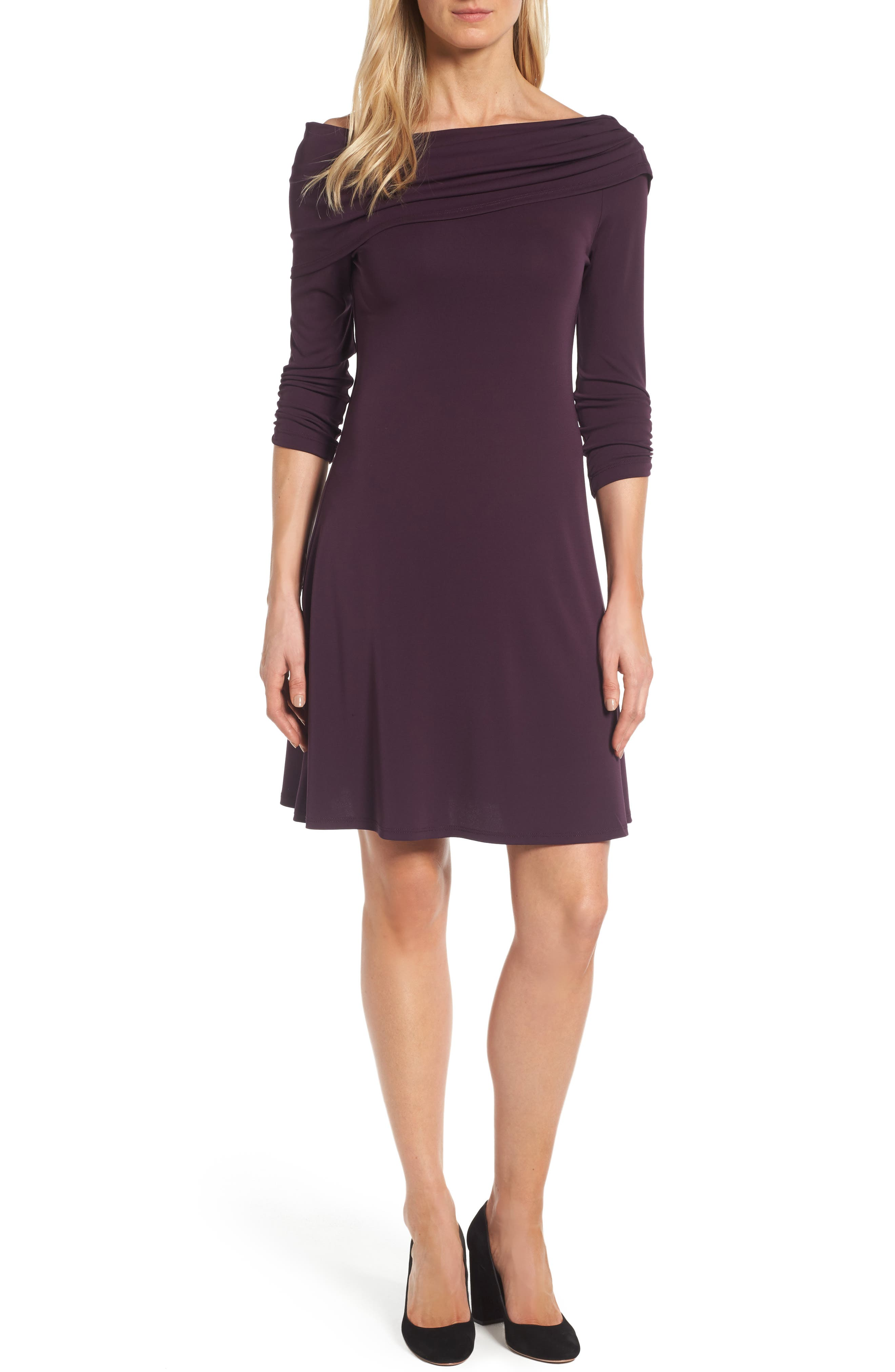 Karen Kane Jackie Drape Neck Jersey Dress (Regular & Petite)