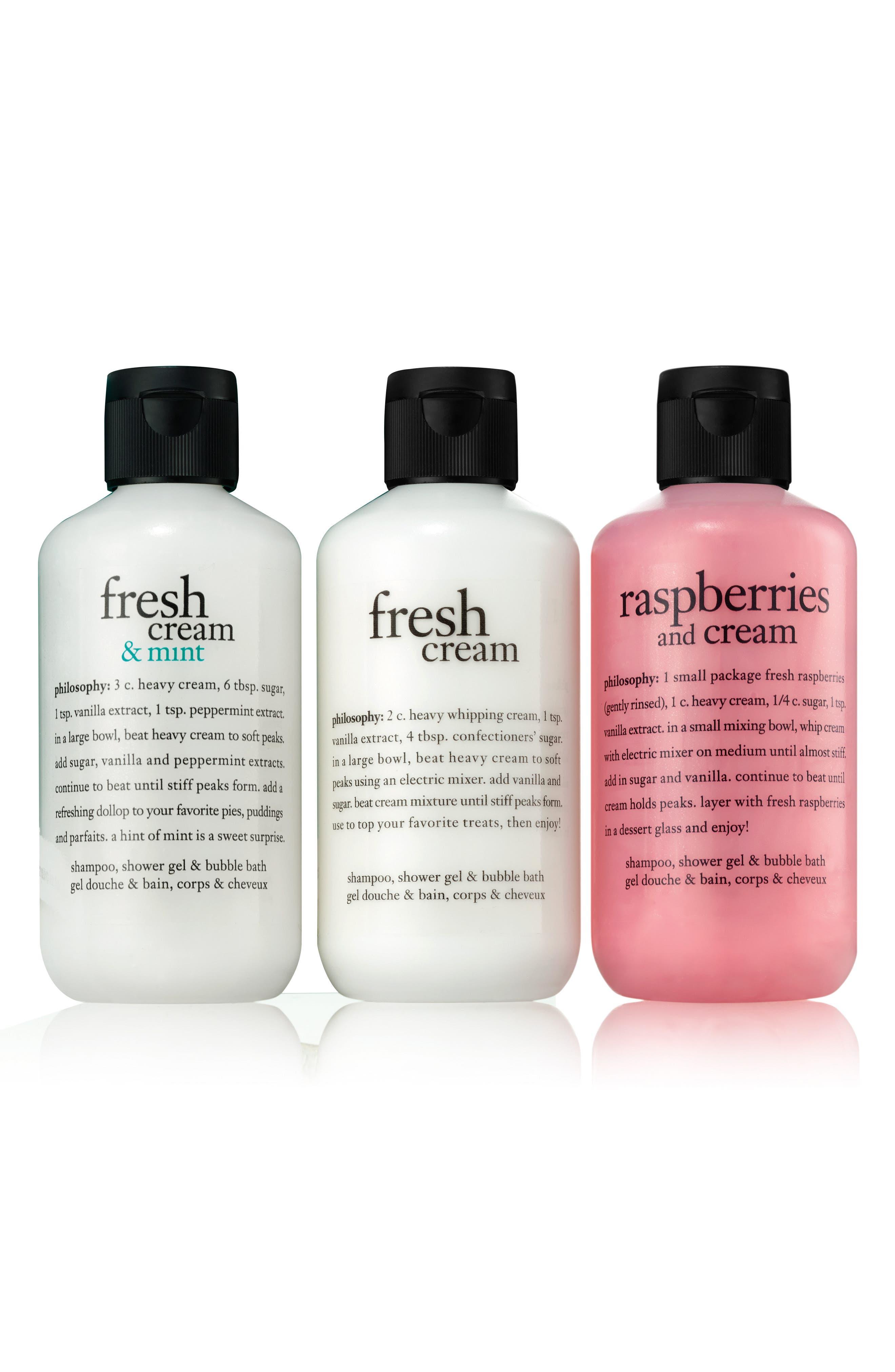 Alternate Image 1 Selected - philosophy fresh cream shampoo, shower gel & bubble bath trio