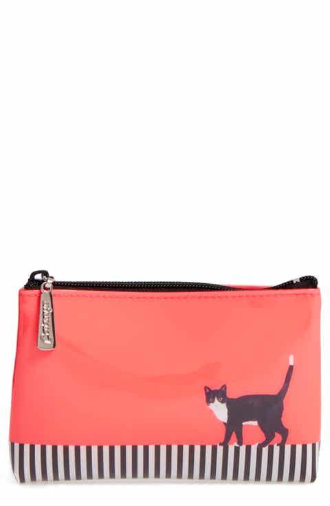 Catseye London Cat on Stripe Zip Pouch