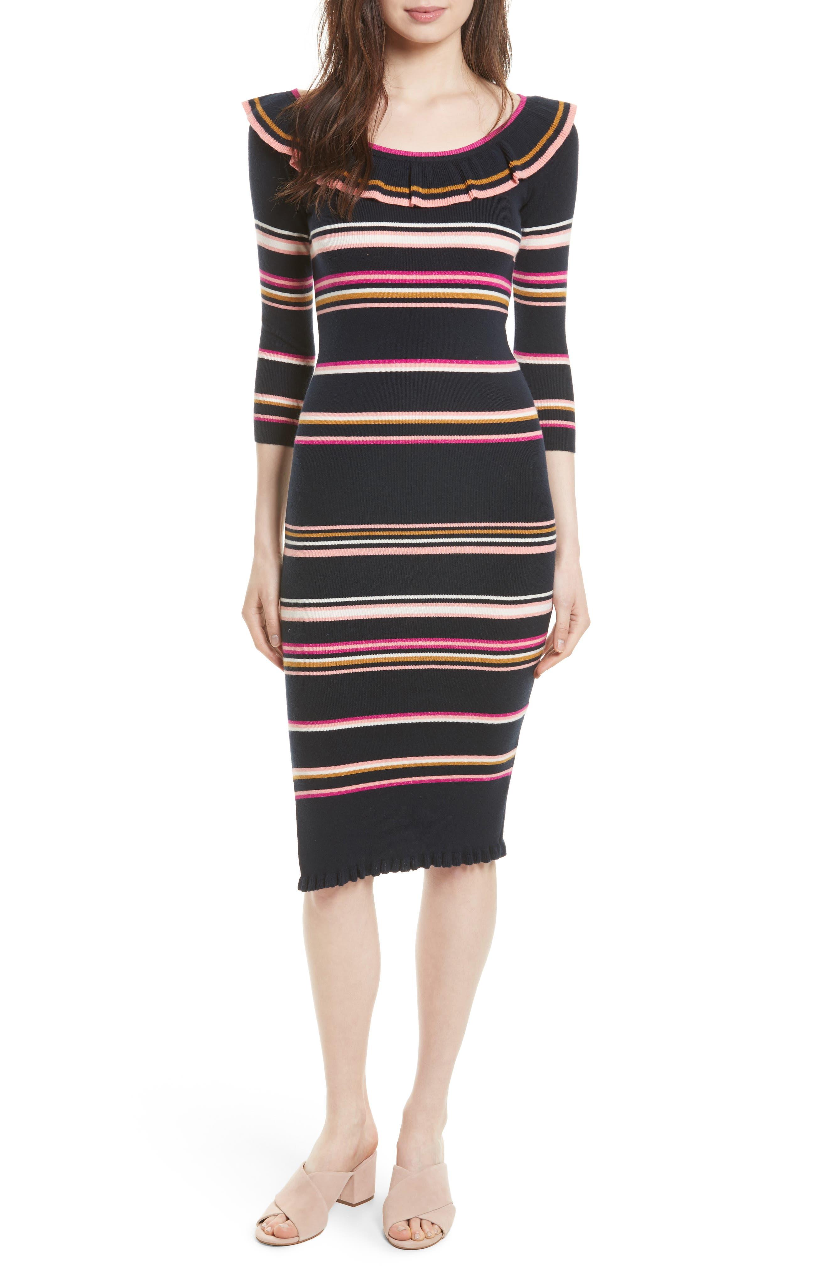 Rebecca Taylor Stripe Rib Knit Dress