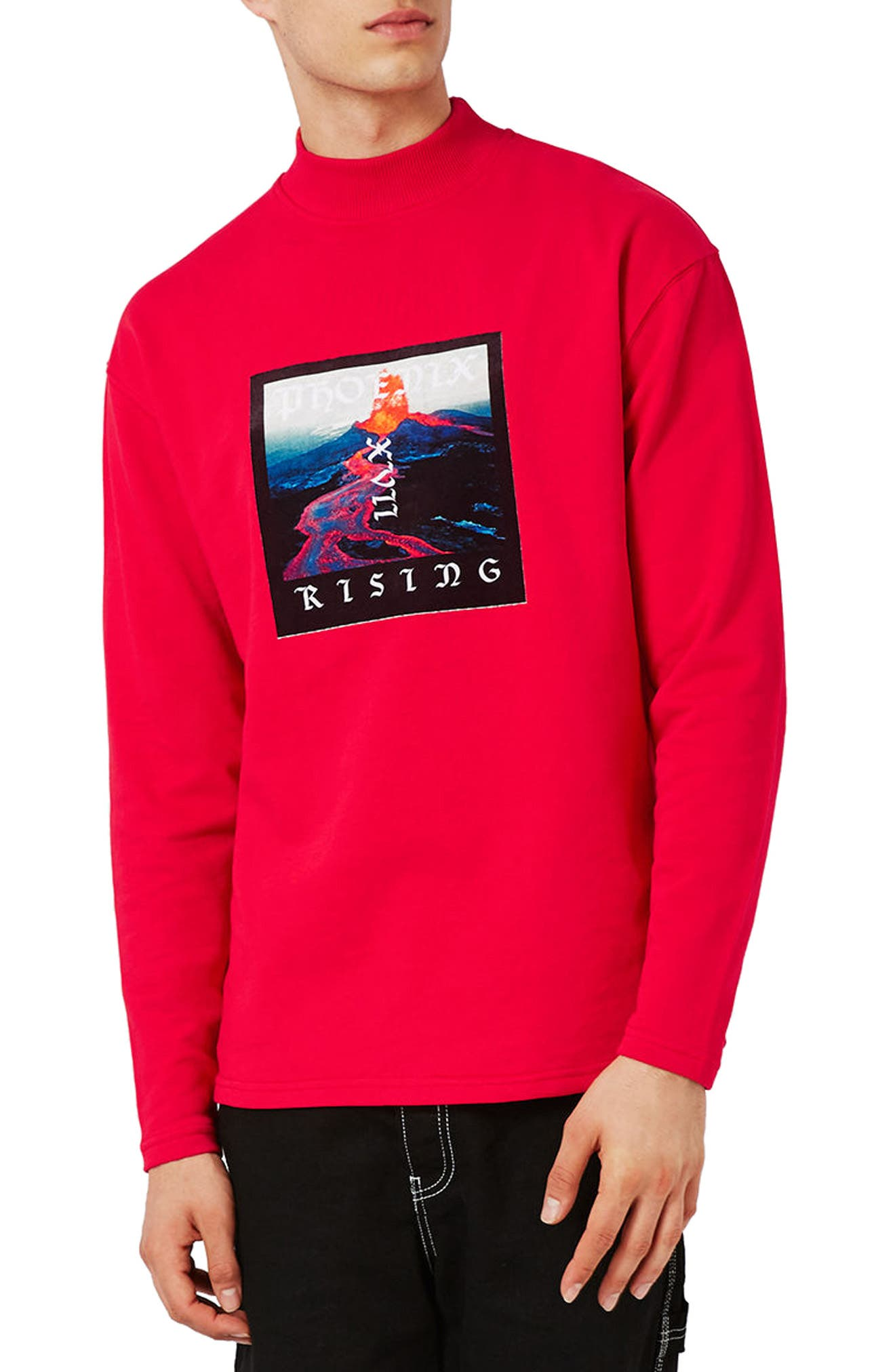 Topman Volcano Graphic Turtleneck Sweatshirt