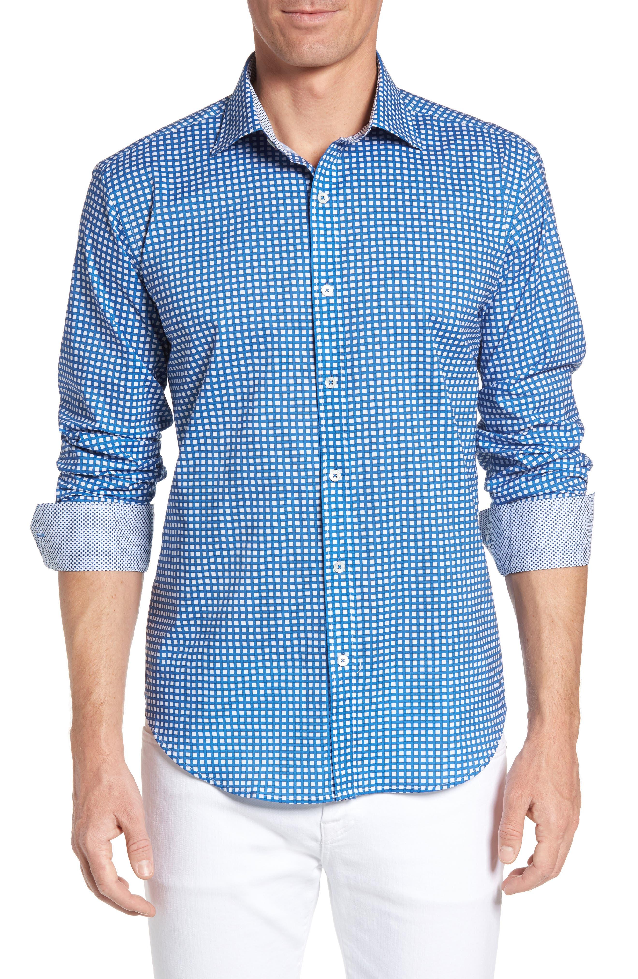 Bugatchi Shaped Fit Grid Print Sport Shirt