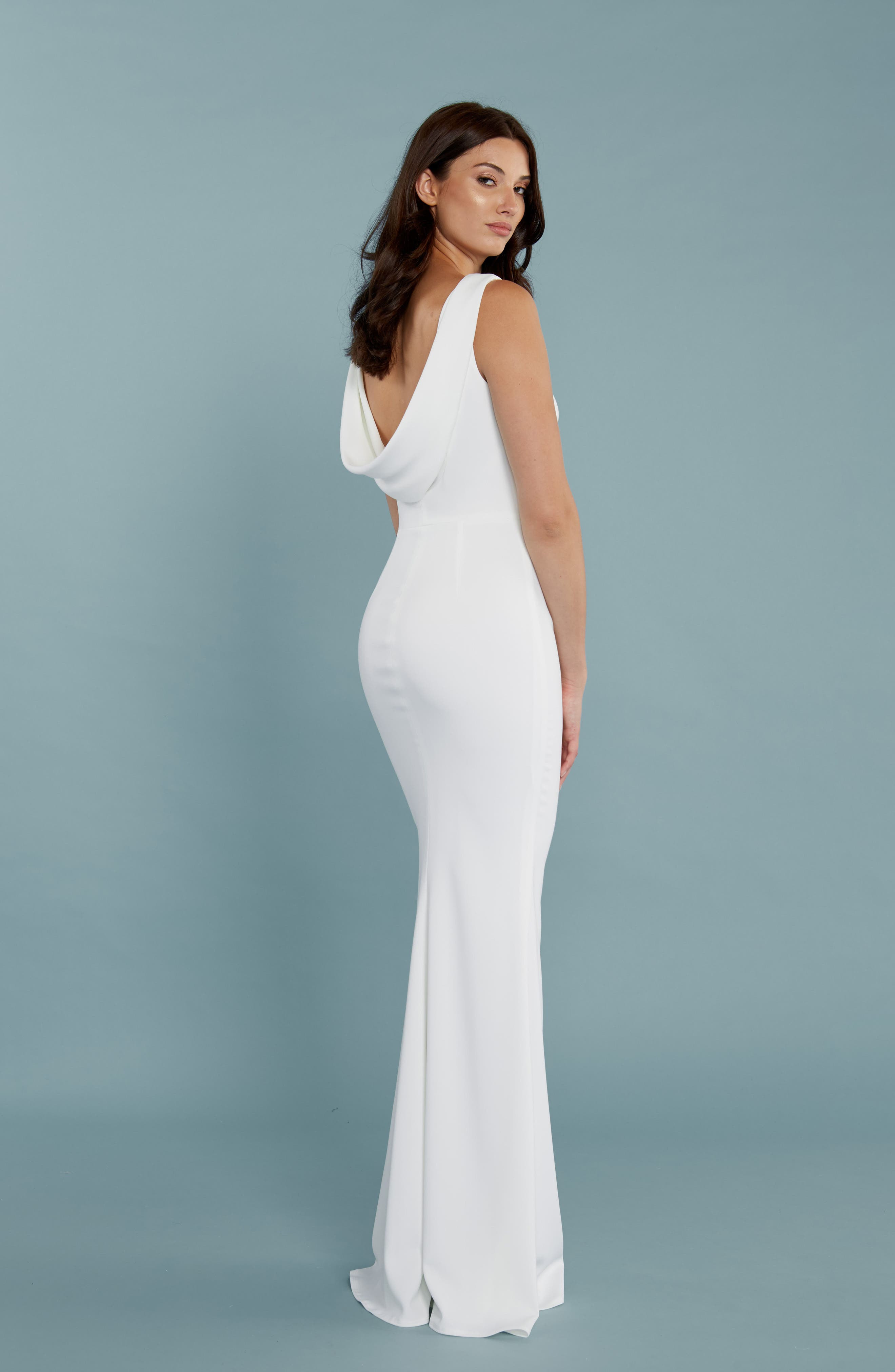 Alternate Image 4  - Katie May Drape Back Crepe Gown