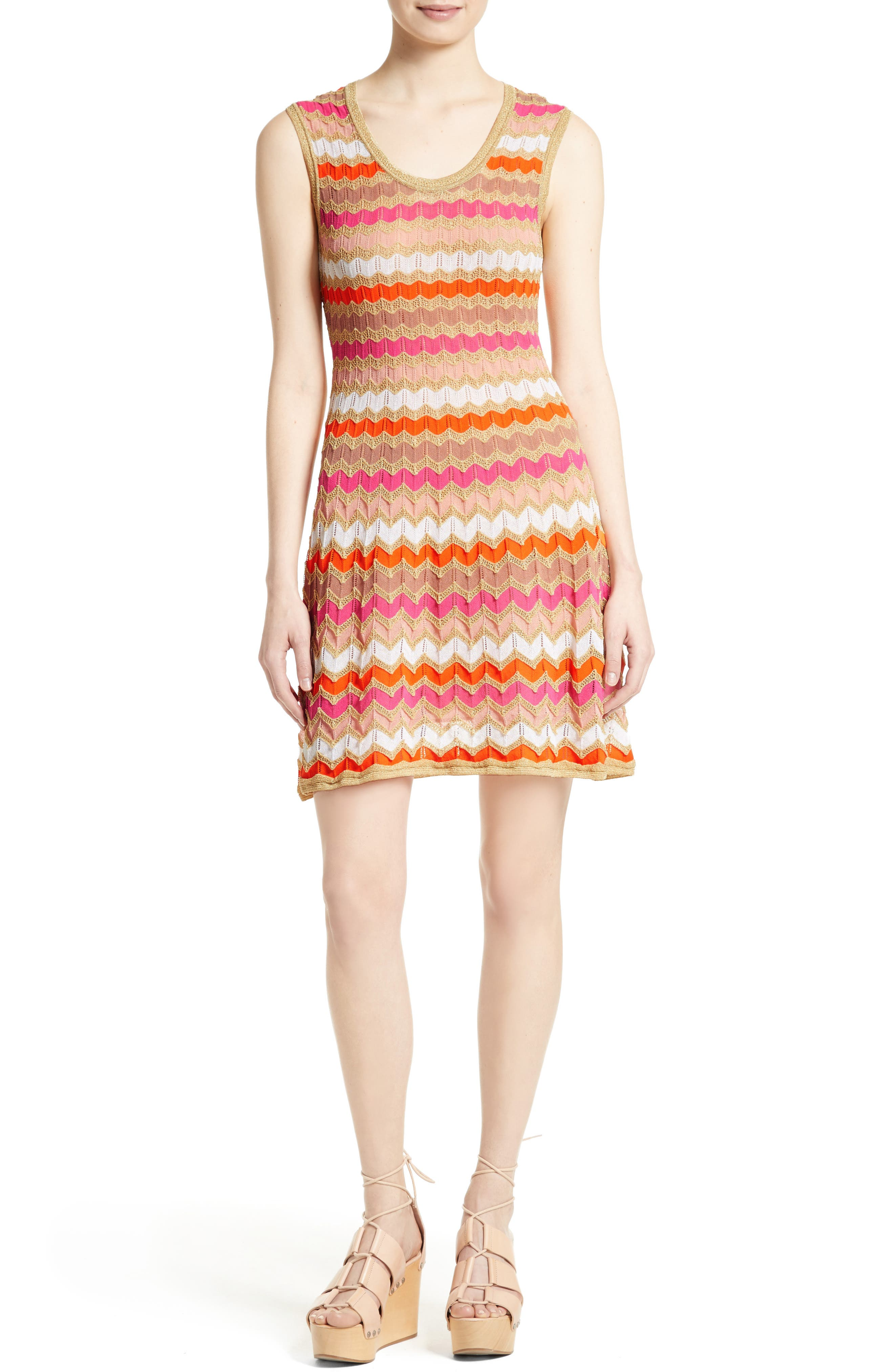 M Missoni Ombré Zigzag Knit A-Line Dress