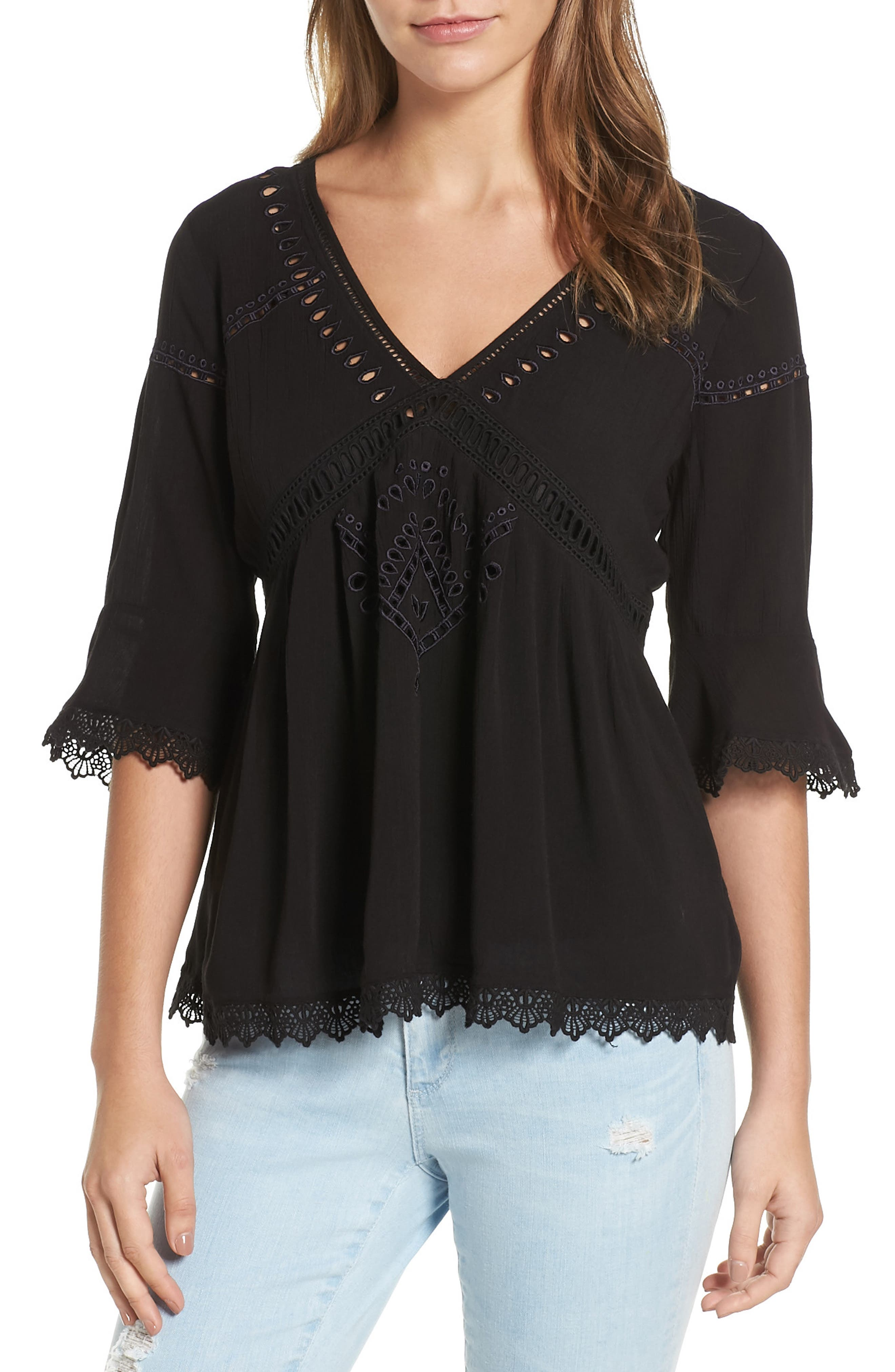 Main Image - Ella Moss Broderie Anglaise Top