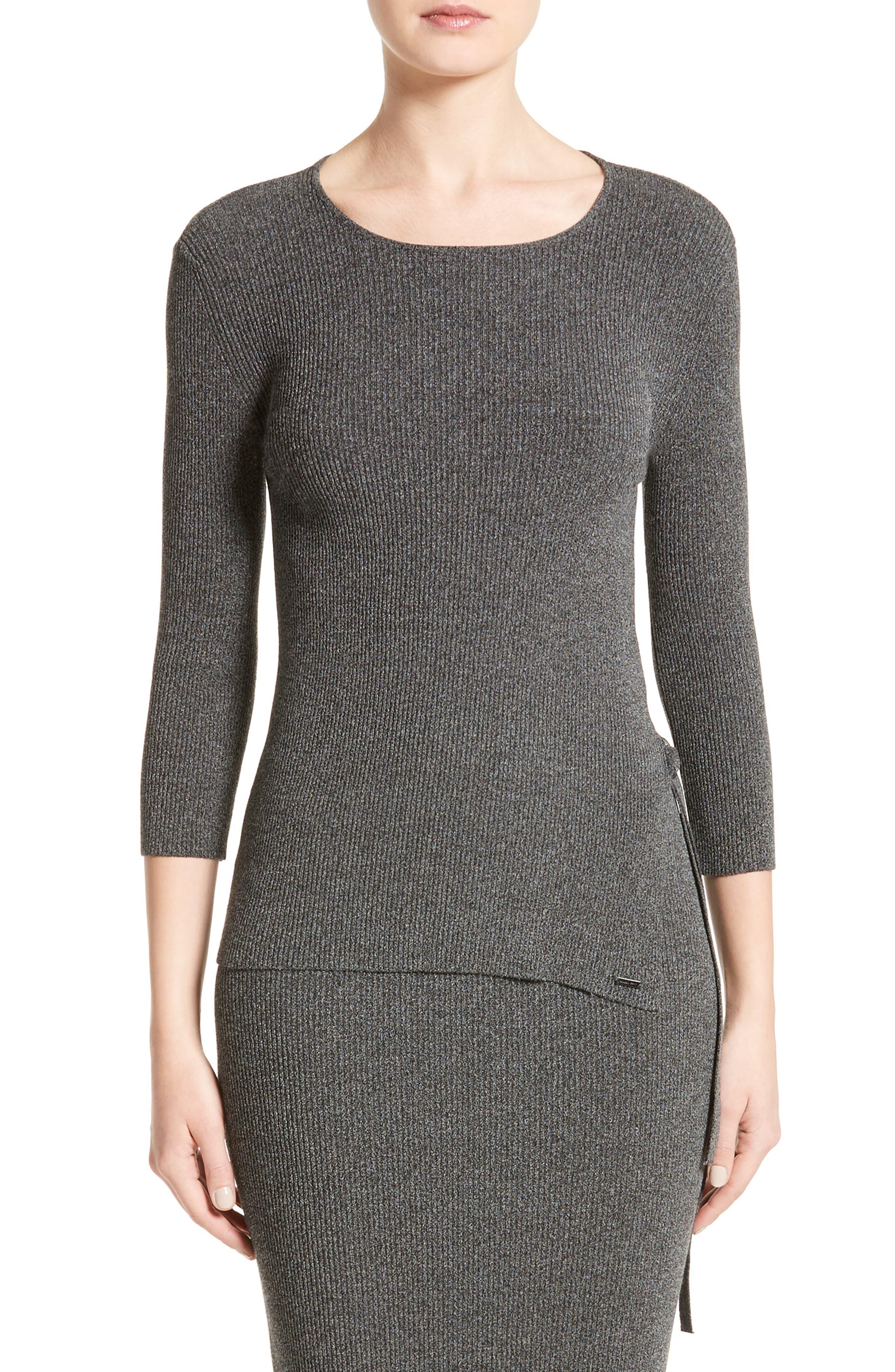 Armani Jeans Rib Knit D-Ring Sweater