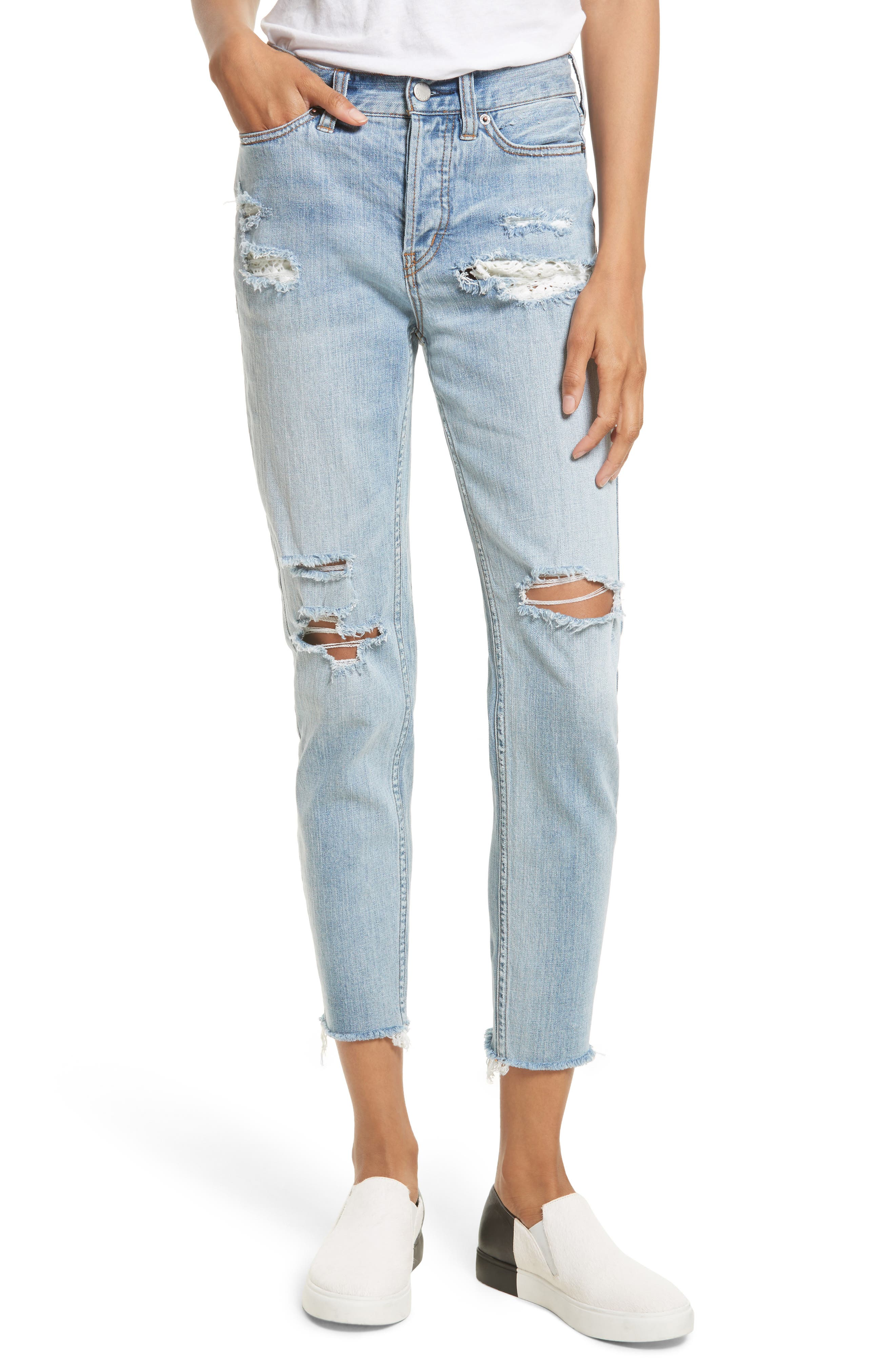 Free People Lacey Stilt Embroidered Crop Jeans