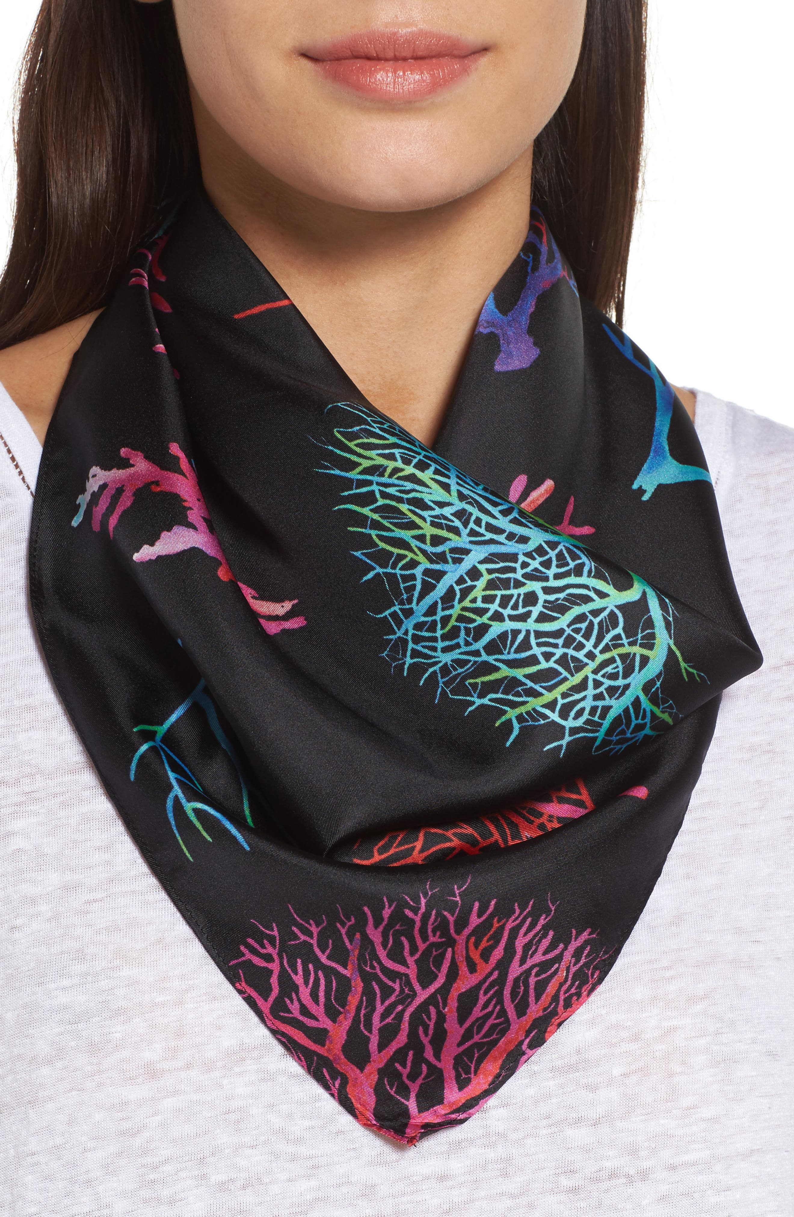 Main Image - Echo Coral Me Crazy Square Silk Scarf