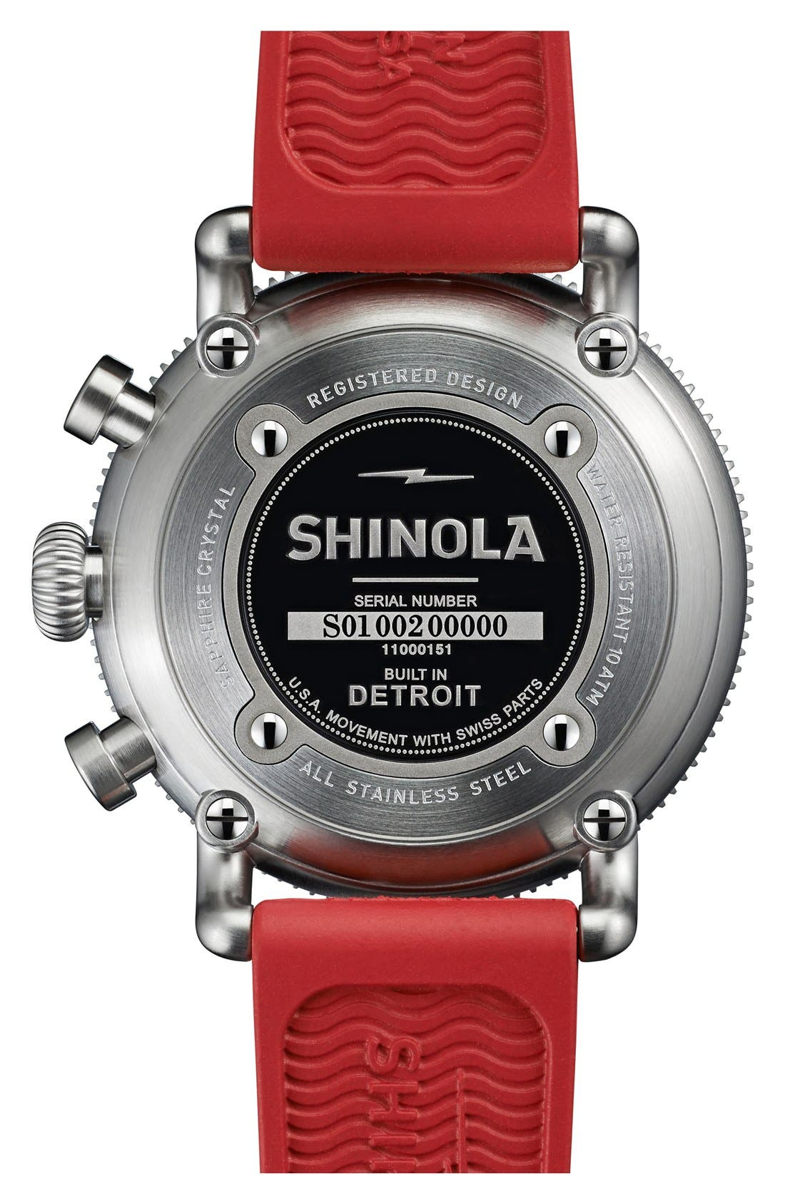 Alternate Image 2  - Shinola 'The Runwell' Chronograph Rubber Strap Watch, 42mm