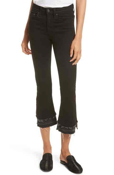 rag   bone Raw Edge Crop Flare Jeans (Coal Double Heather)