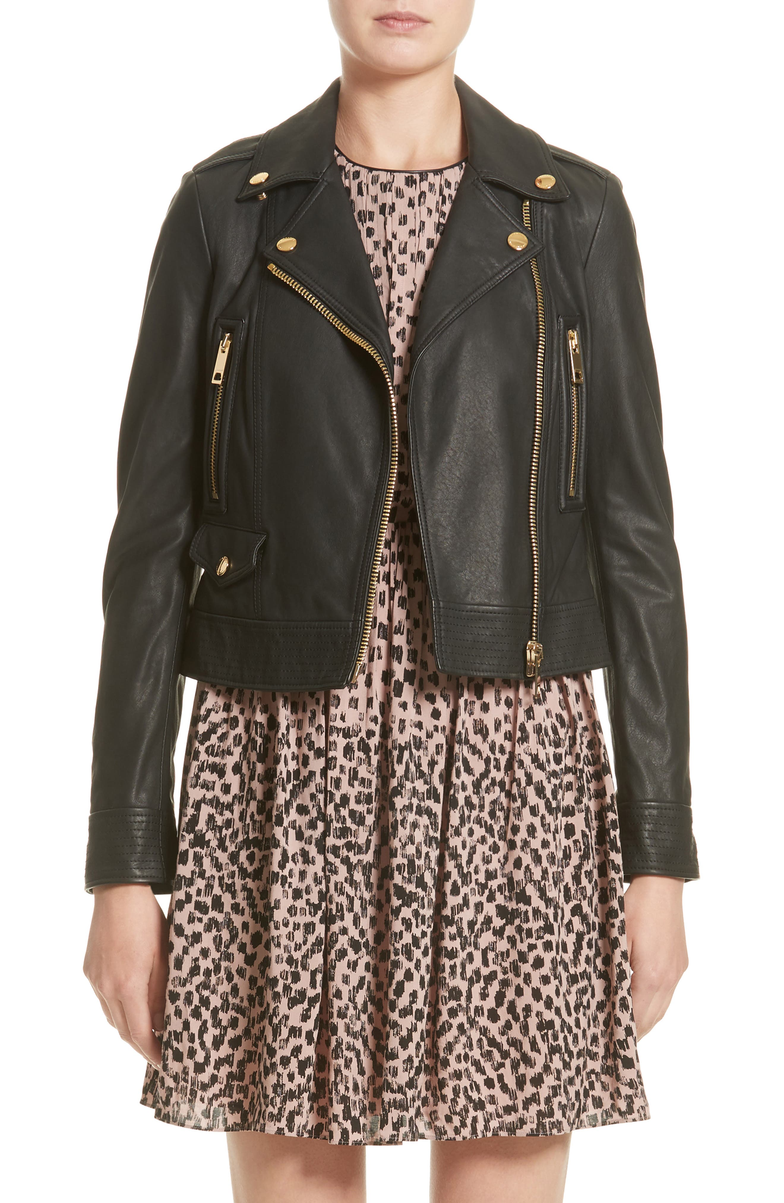 Burberry Patternsby Lambskin Leather Moto Jacket (Nordstrom Exclusive)