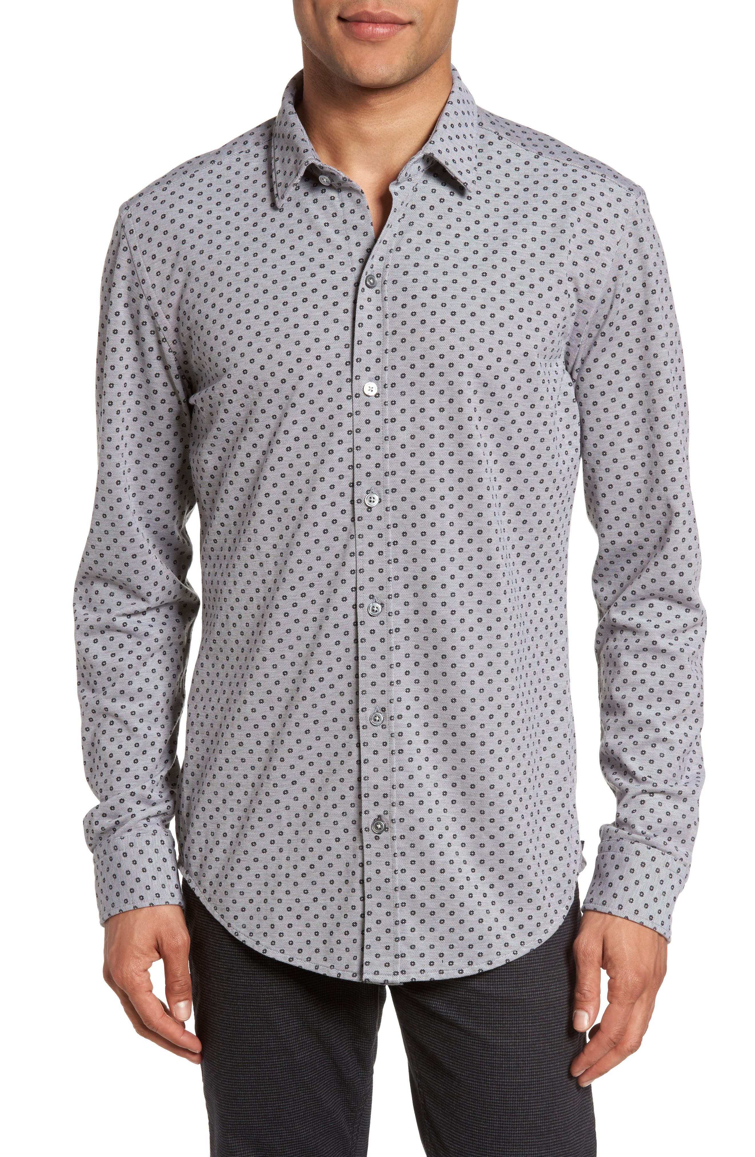 BOSS Robbie Sharp Fit Micro Print Jersey Sport Shirt