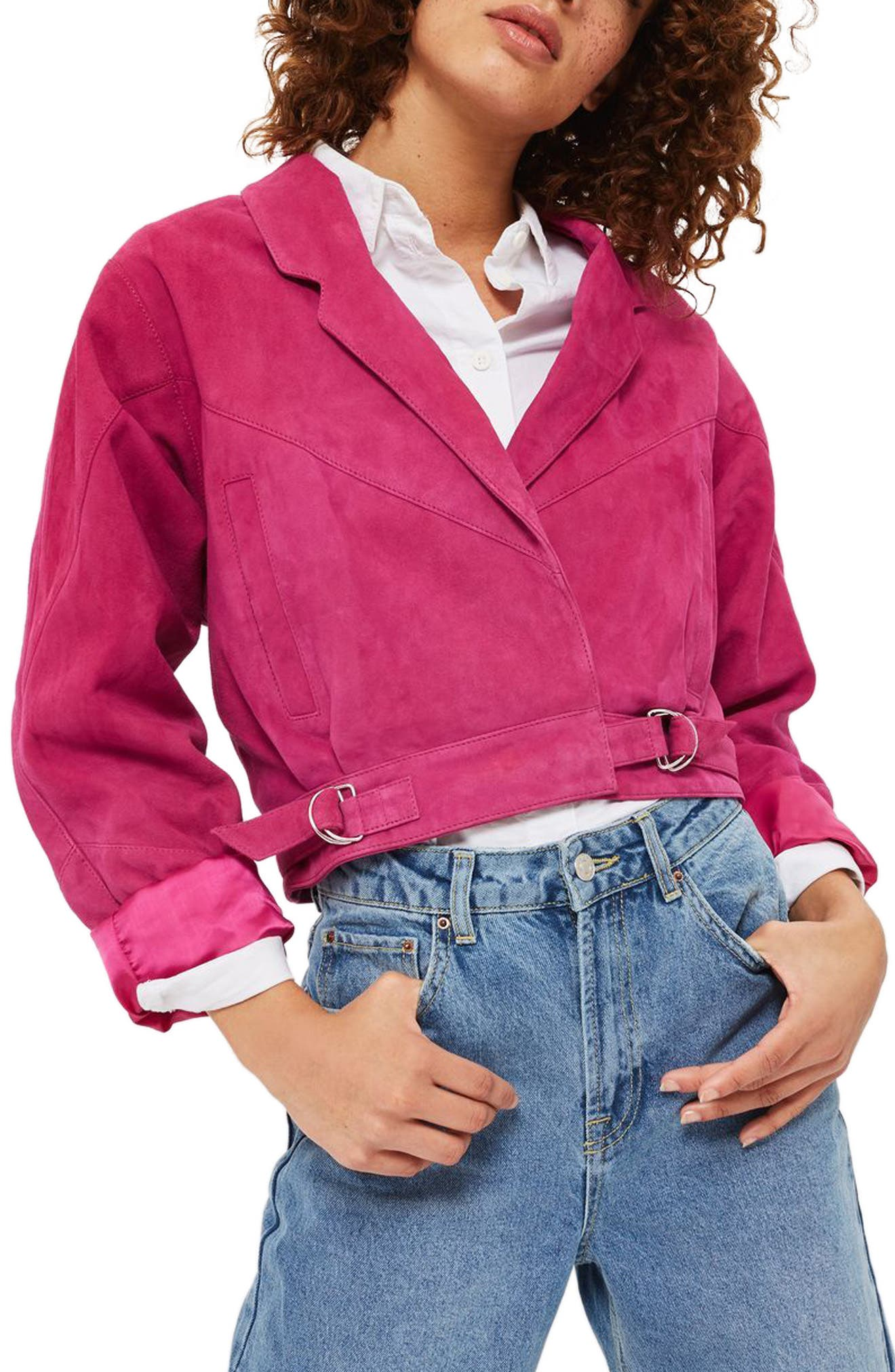 Topshop Maggie Crop Suede Jacket