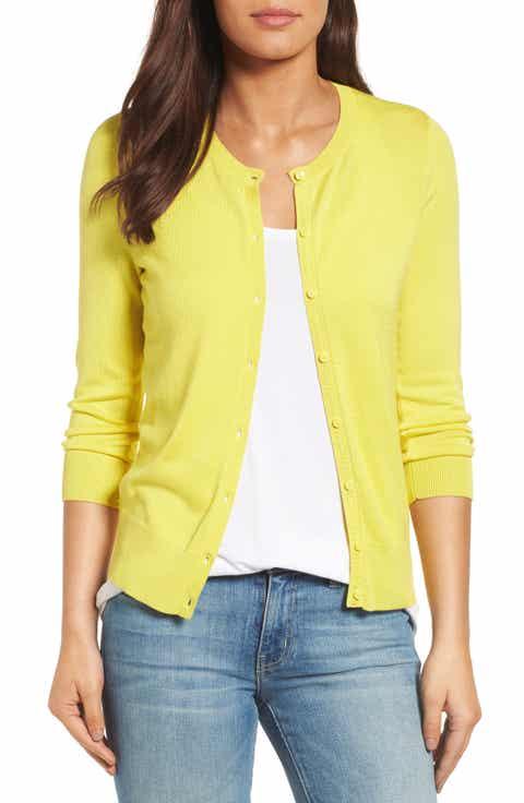 Halogen® Three Quarter Sleeve Crewneck Cardigan (Regular & Petite) - Women's Yellow Cardigan Sweaters: Long, Cropped & More Nordstrom