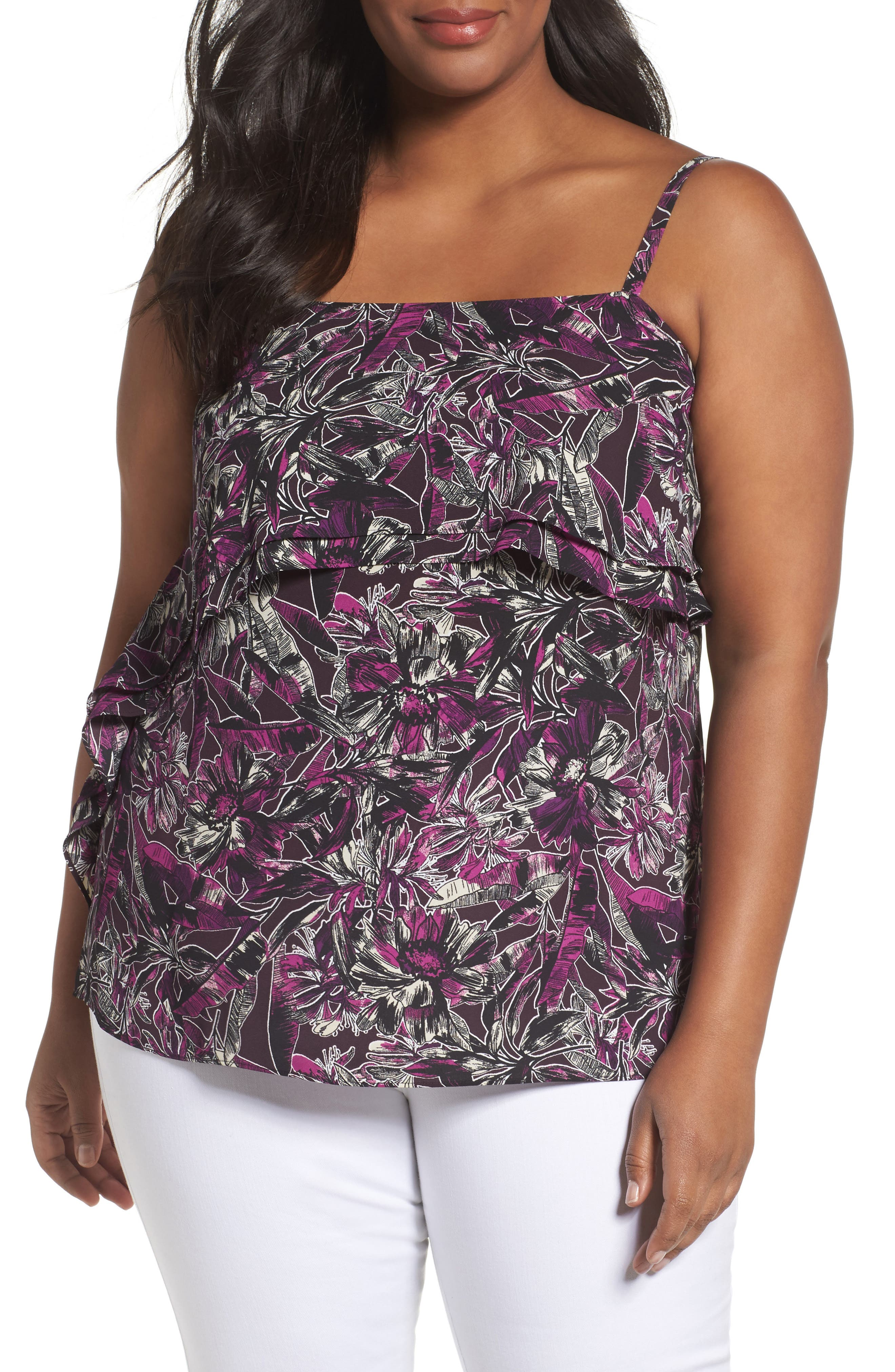 Sejour Double Ruffle Camisole Top (Plus Size)