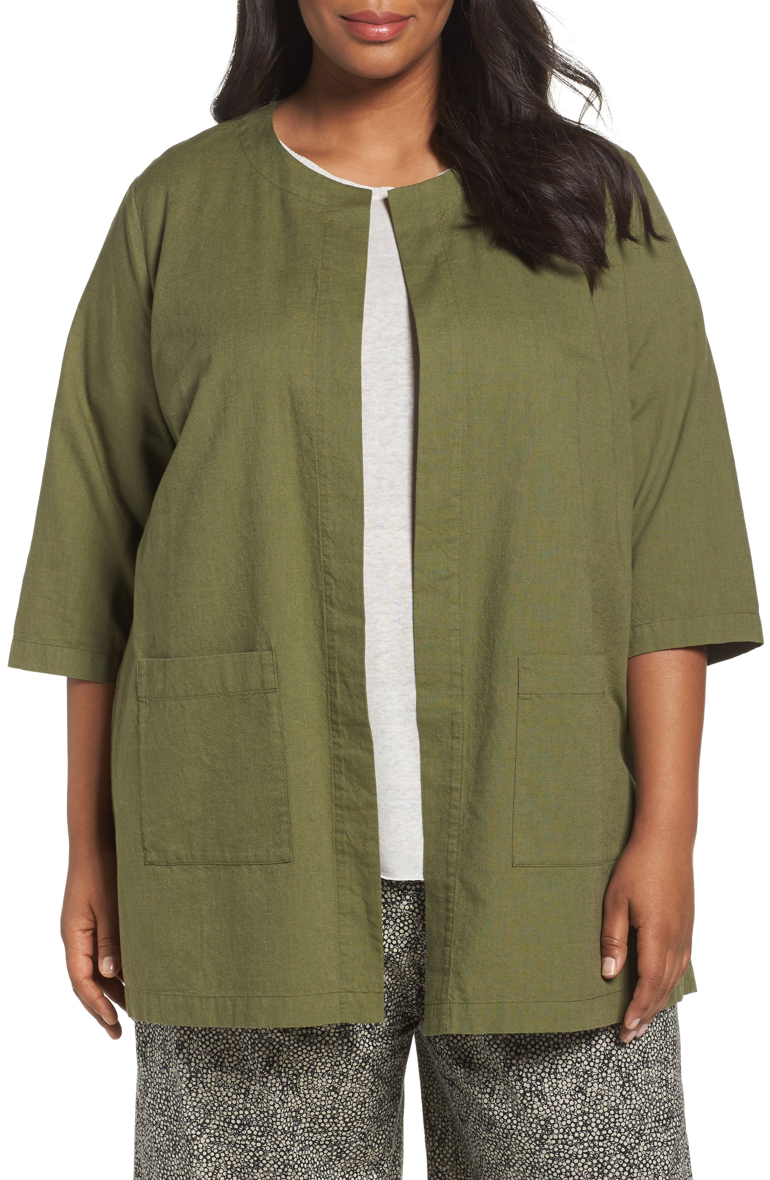 Eileen Fisher Cross Dyed Organic Cotton Topper (Plus Size)