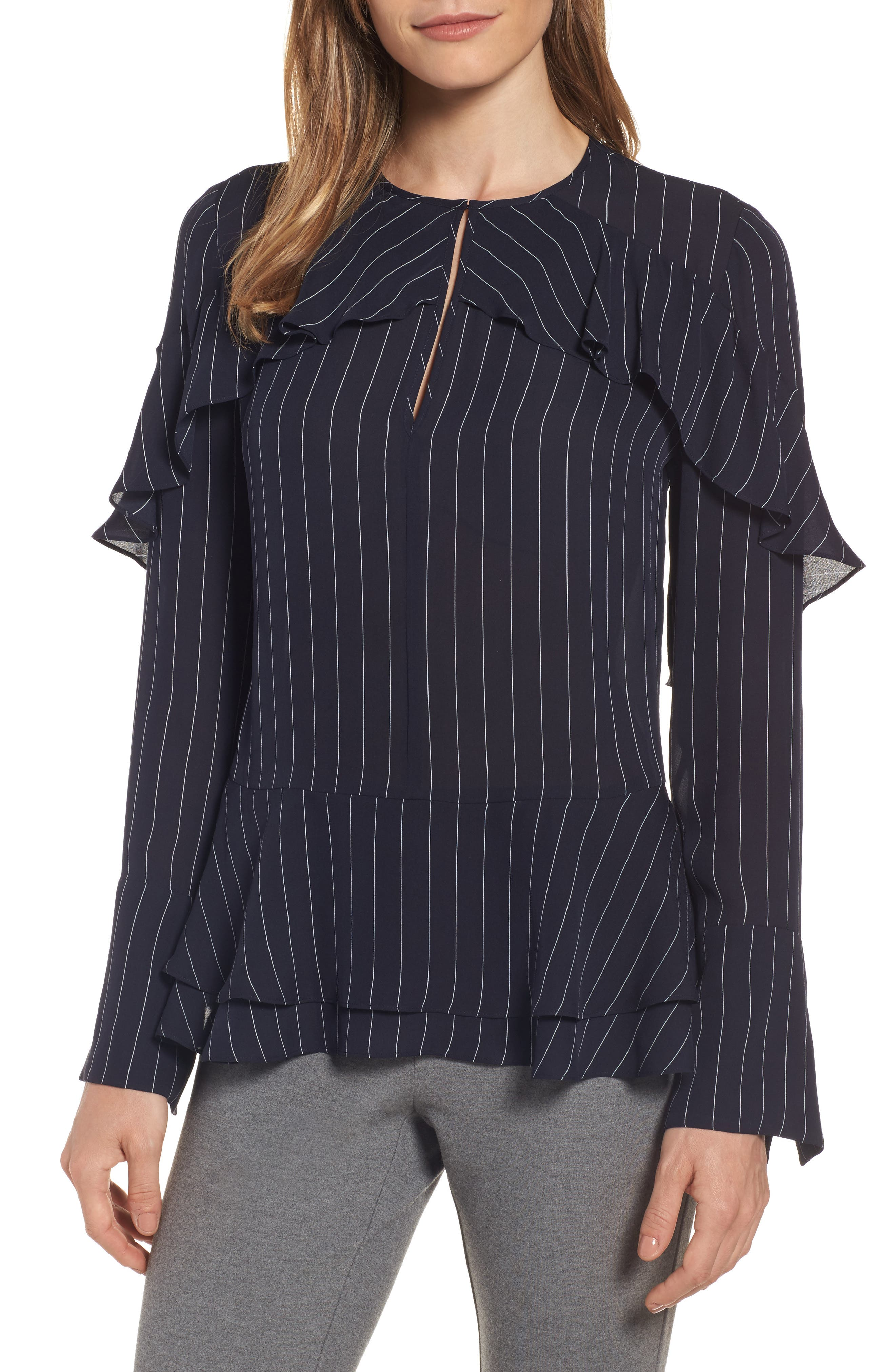 Classiques Entier® Bell Sleeve Pinstripe Silk Blouse
