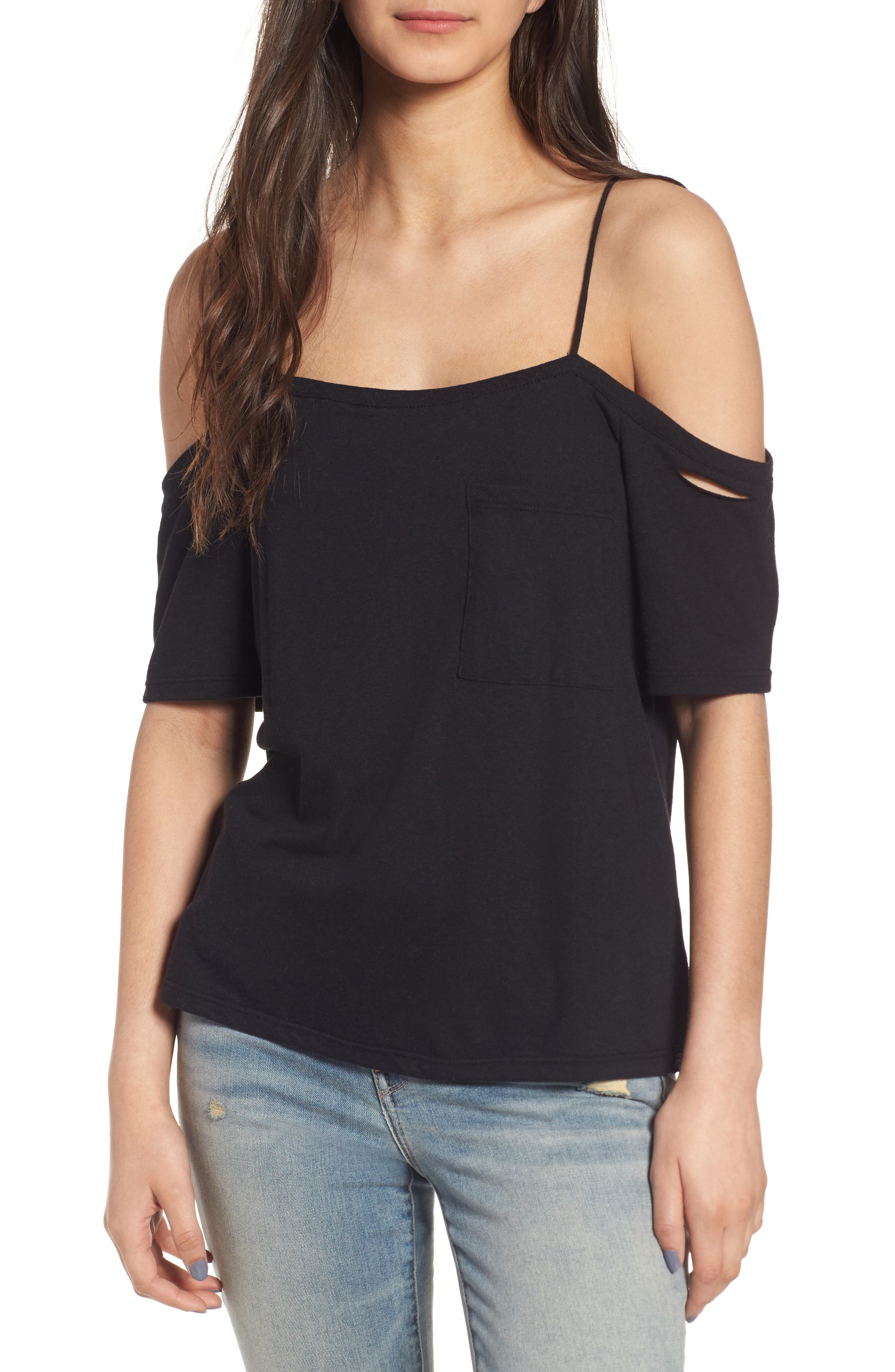 Main Image - Treasure&Bond Distressed Off the Shoulder Top