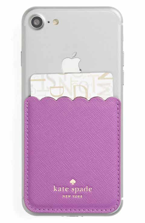 kate spade new york scallop leather stick-on smartphone case pocket