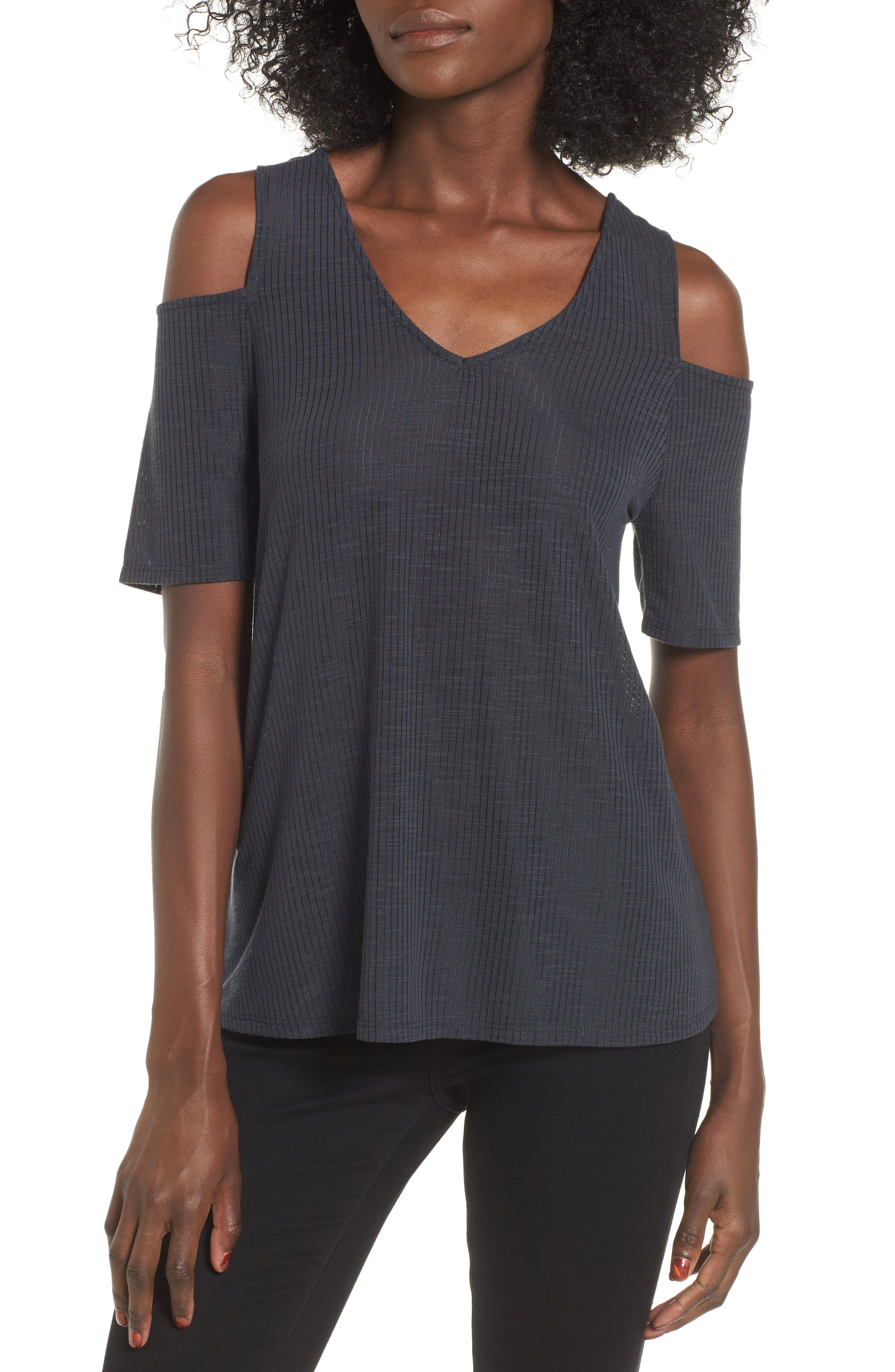 Madison & Berkeley Rib Cold Shoulder Top