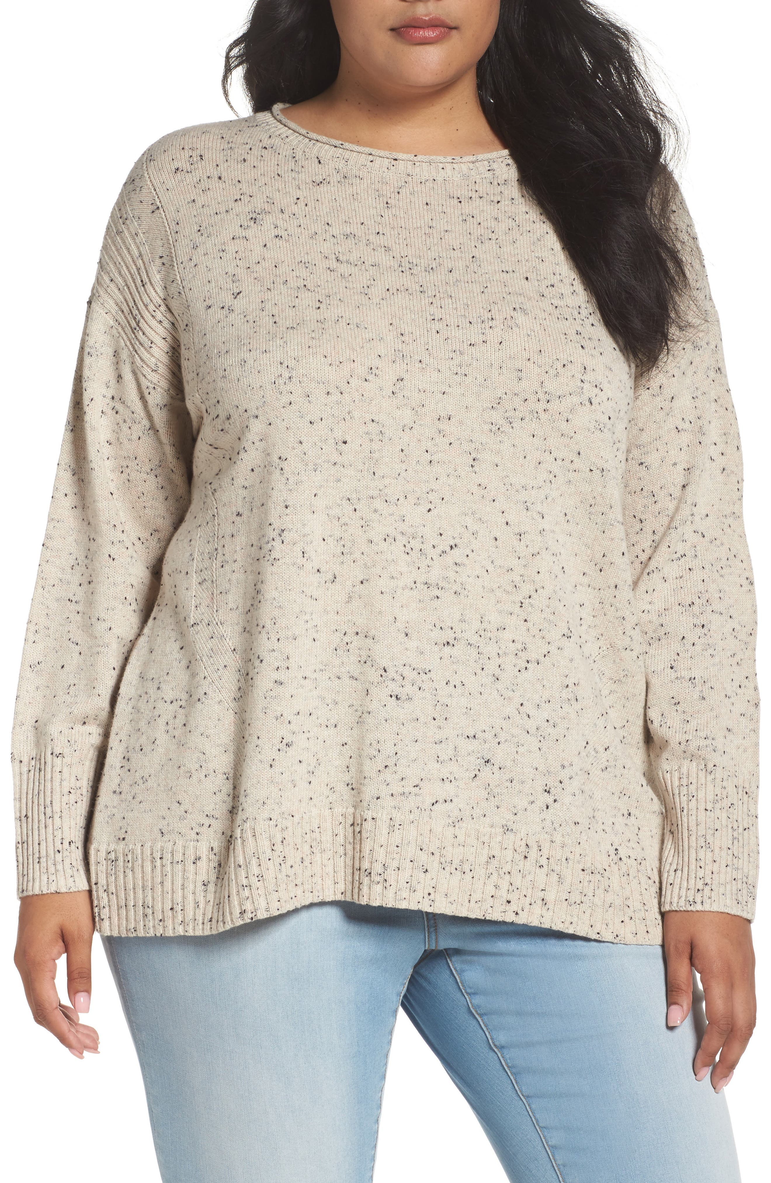 Caslon® Zip Back High/Low Sweater (Plus Size)