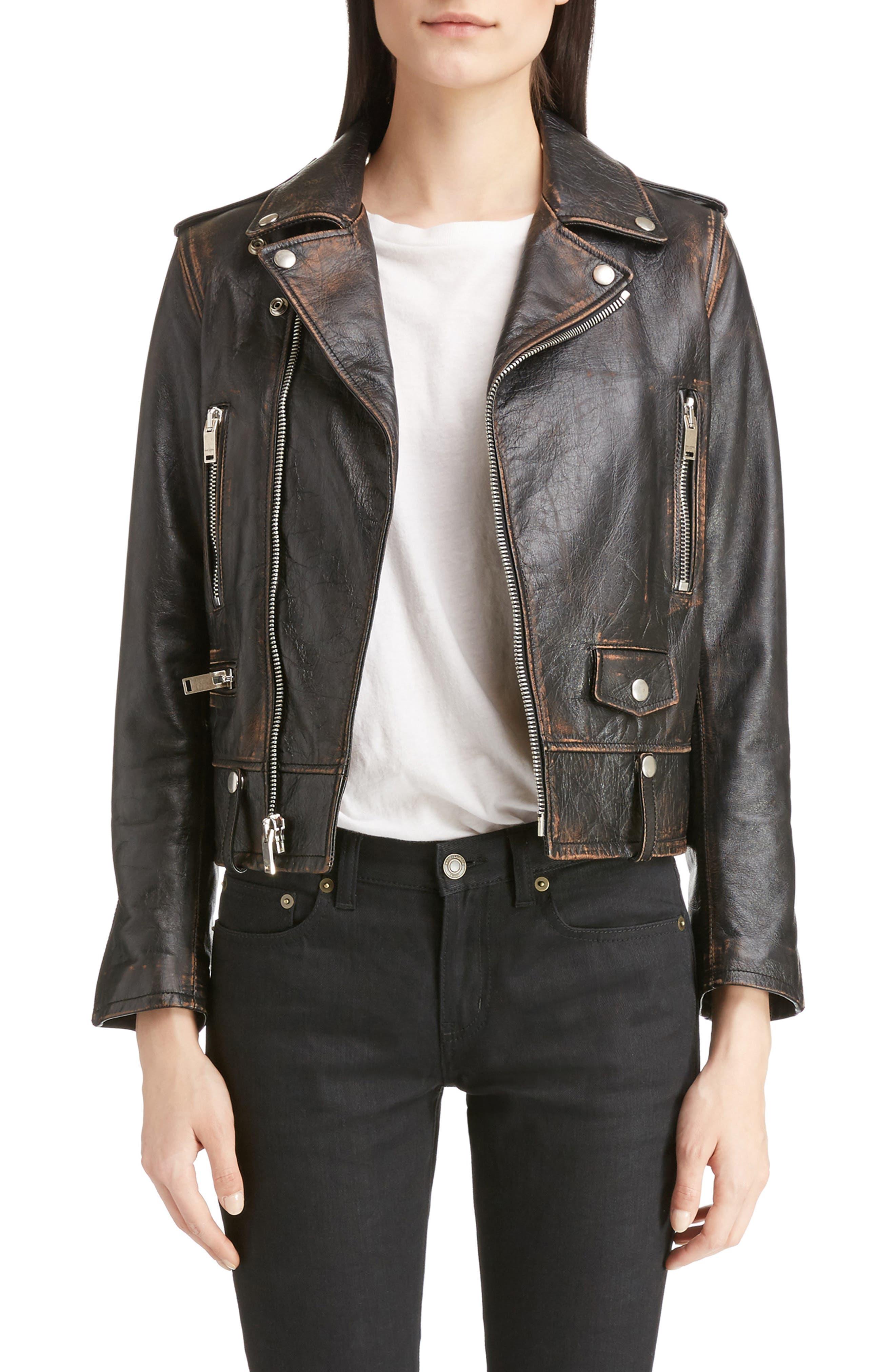 Saint Laurent Back Logo Leather Biker Jacket
