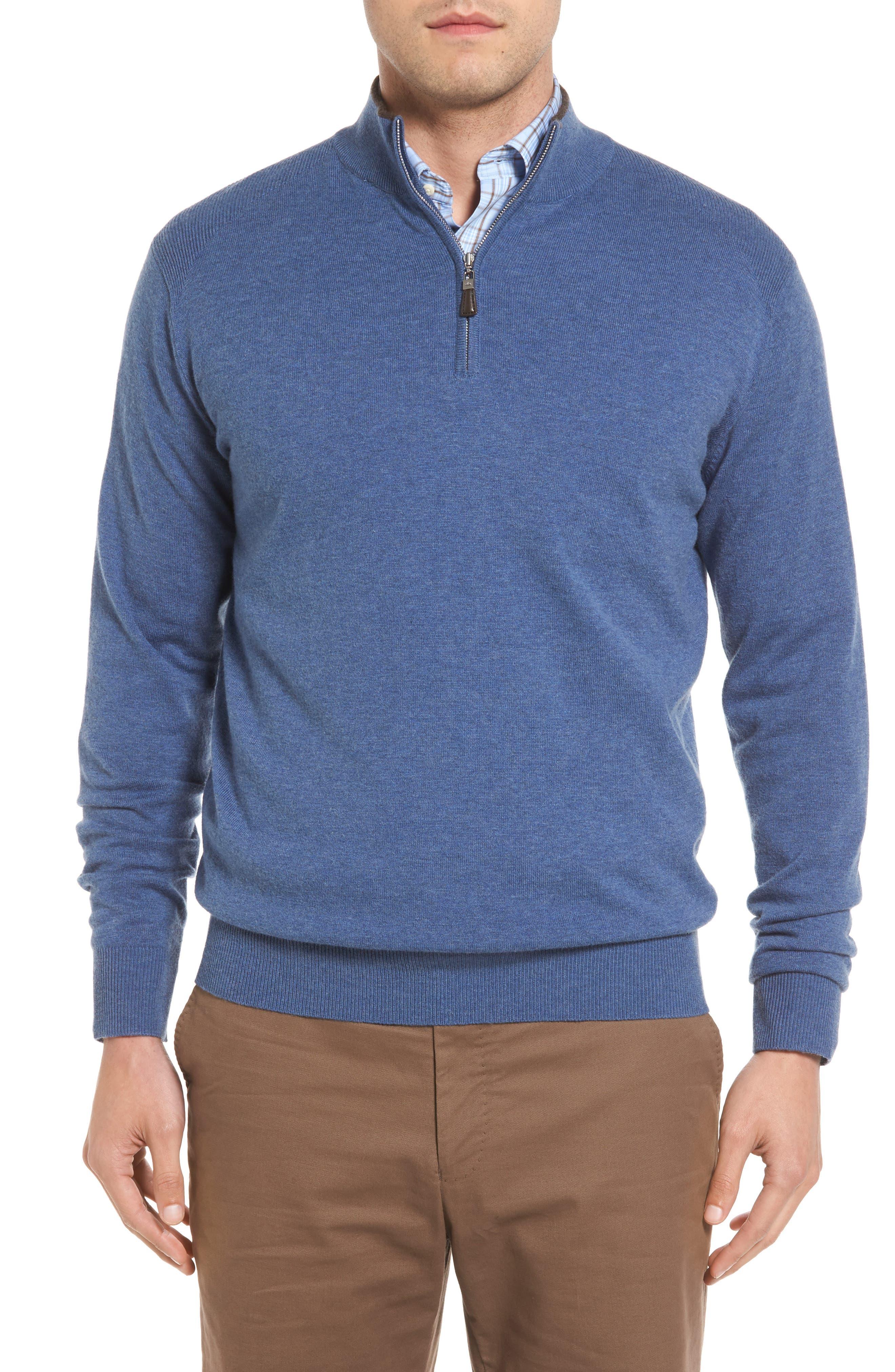 Peter Millar Mock Neck Quarter Zip Wool & Cotton Sweater