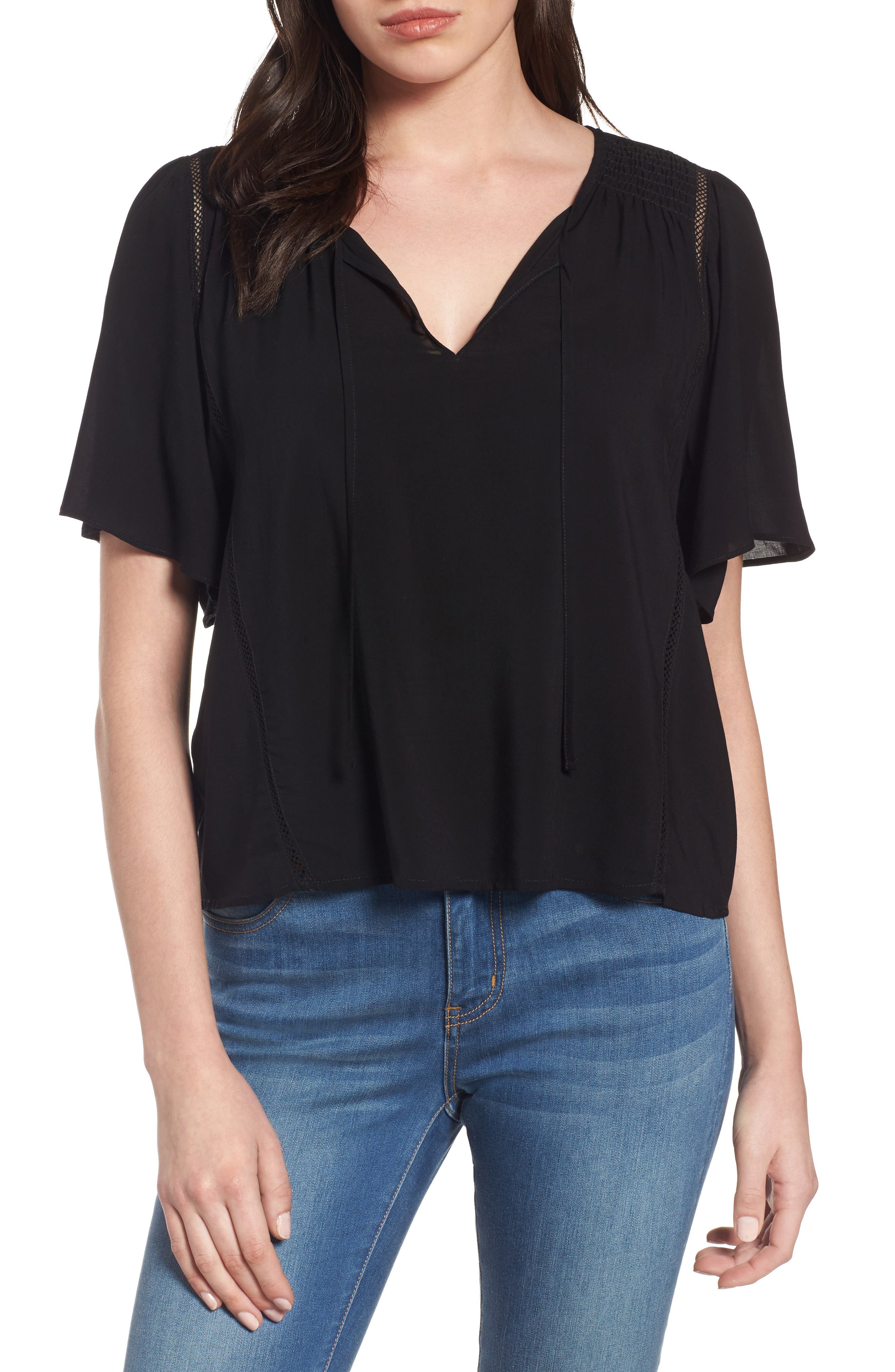 Velvet by Graham & Spencer Tie Neck Swing Blouse