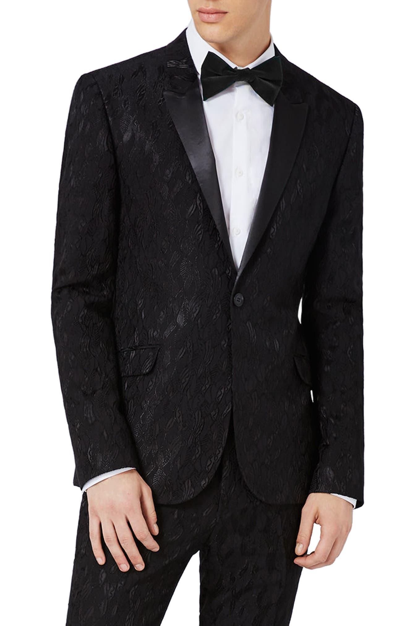 Topman Ultra Skinny Fit Jacquard Leaf Tuxedo Jacket