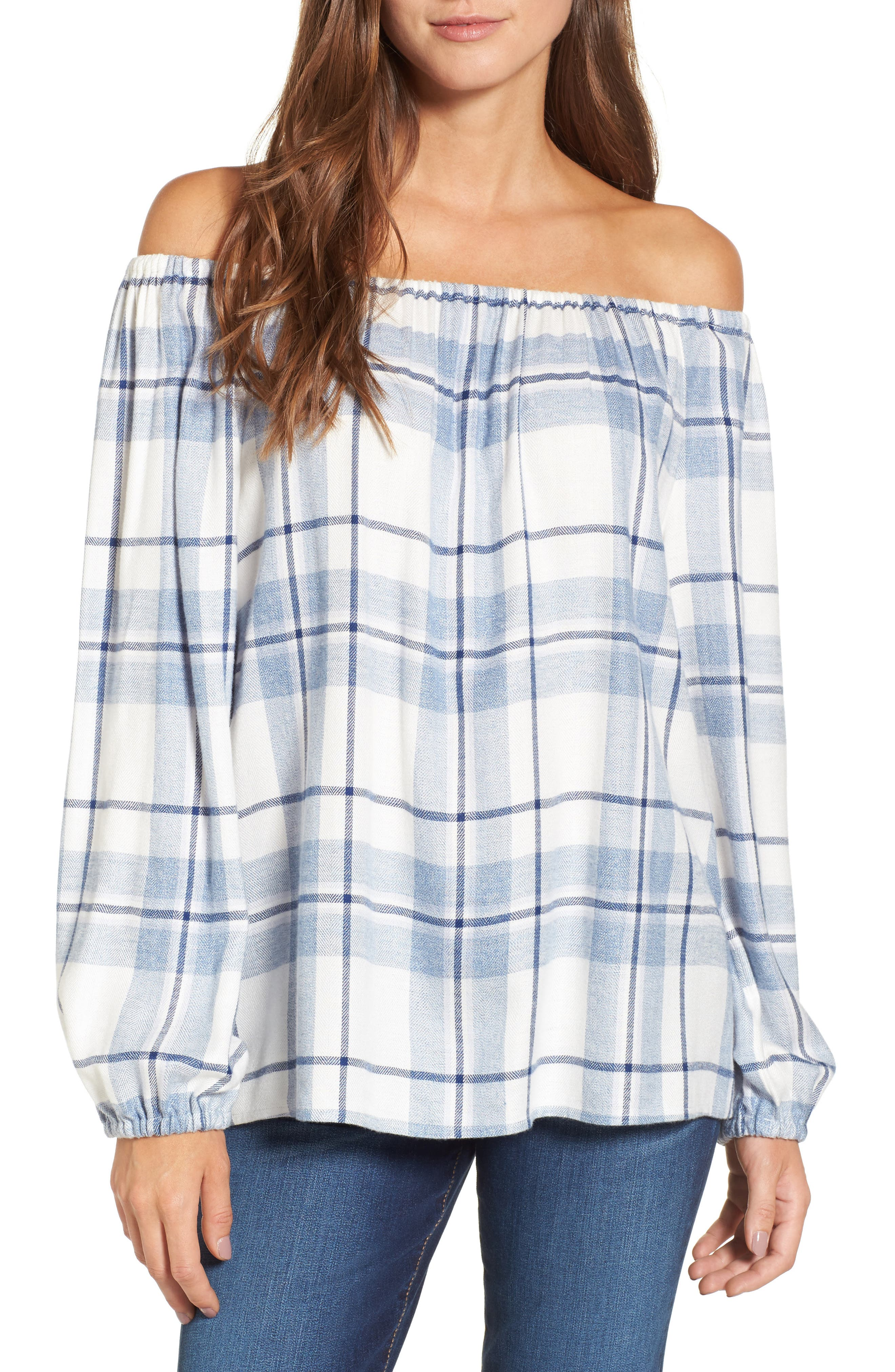 Two by Vince Camuto Off the Shoulder Plaid Blouse (Regular & Petite)
