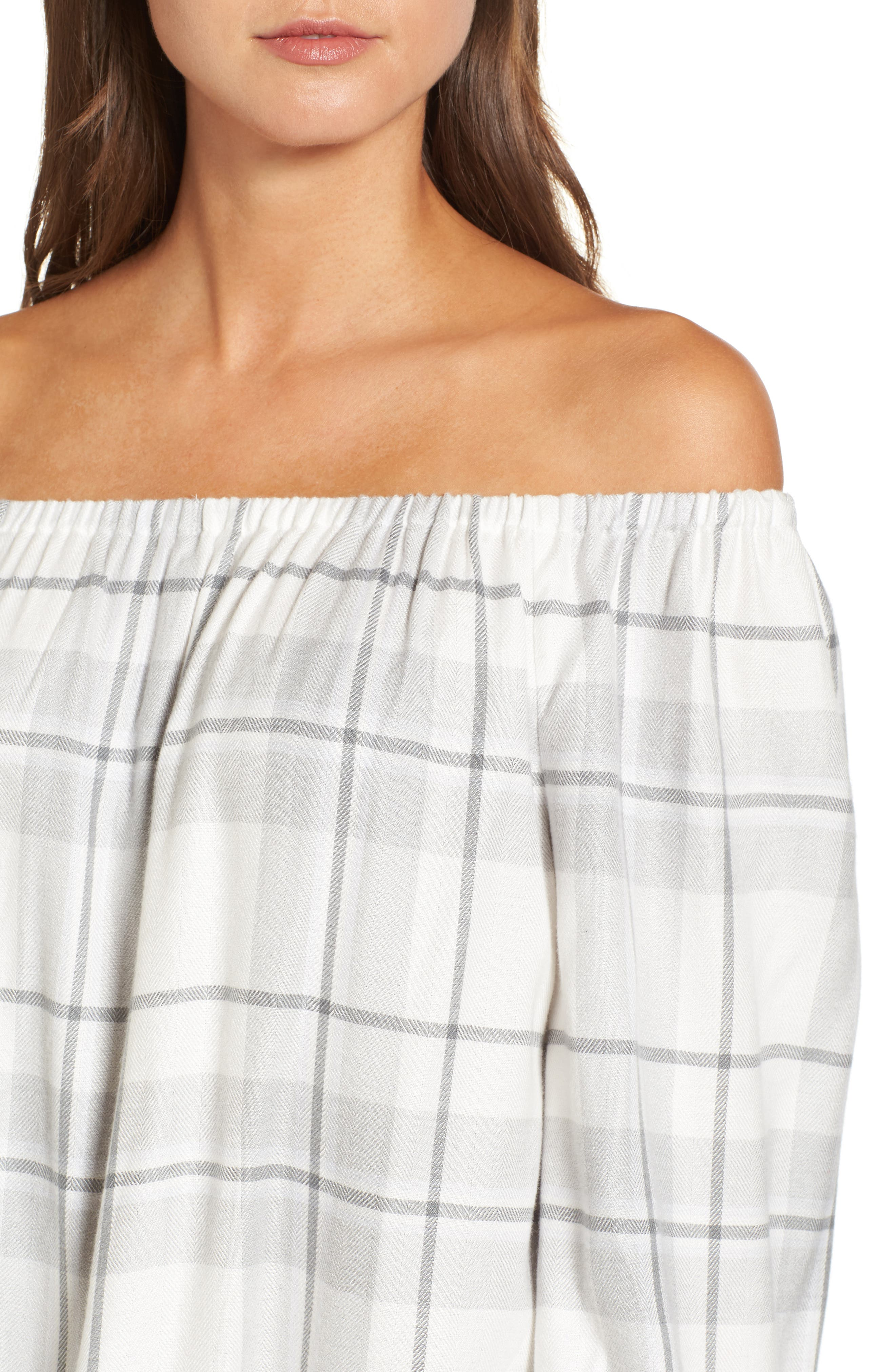 Alternate Image 4  - Two by Vince Camuto Off the Shoulder Plaid Blouse (Regular & Petite)