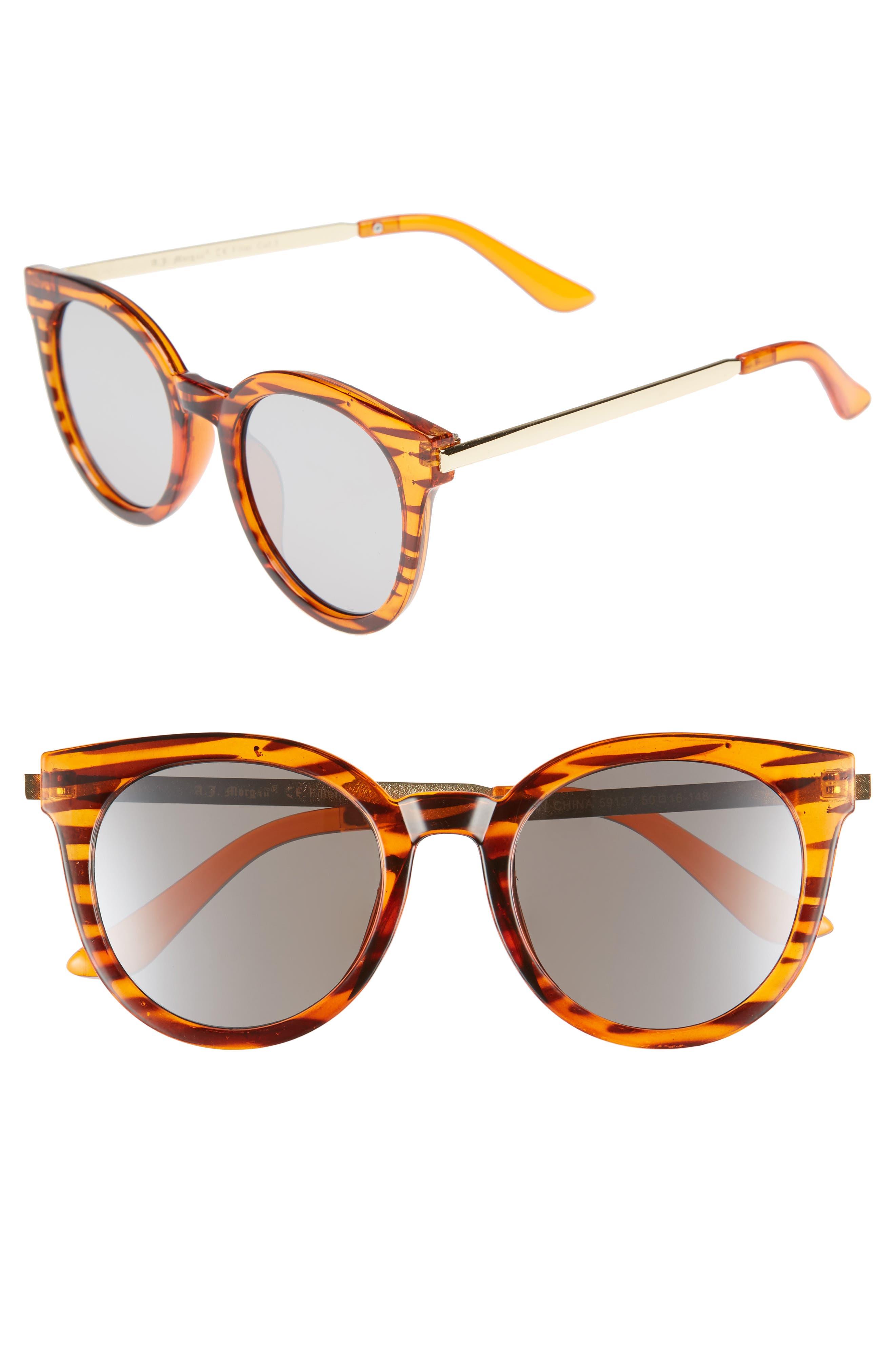 Main Image - A.J. Morgan Hi There 50mm Mirrored Round Sunglasses