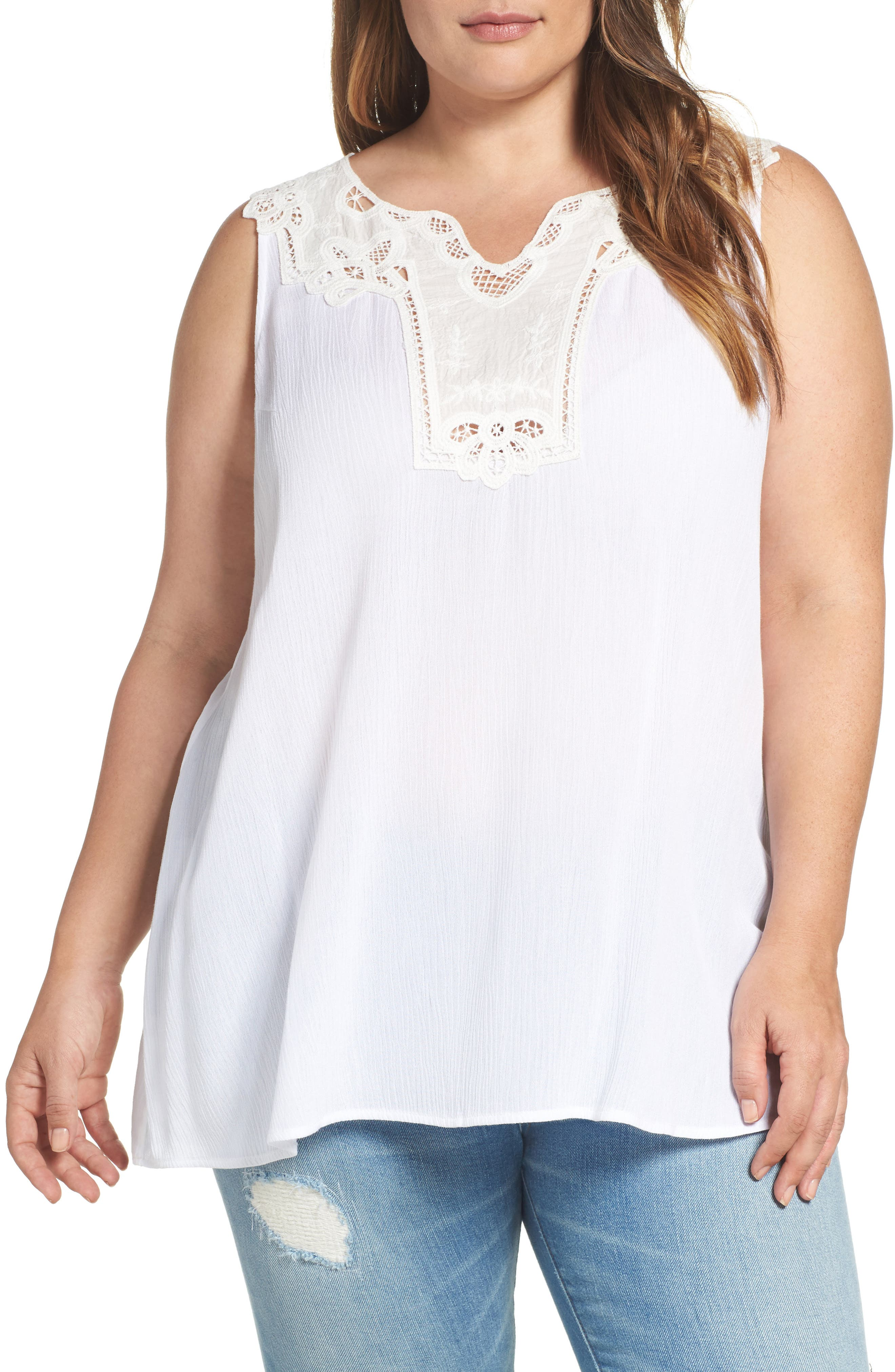 Bobeau Embroidered Appliqué Gauze Tank (Plus Size)