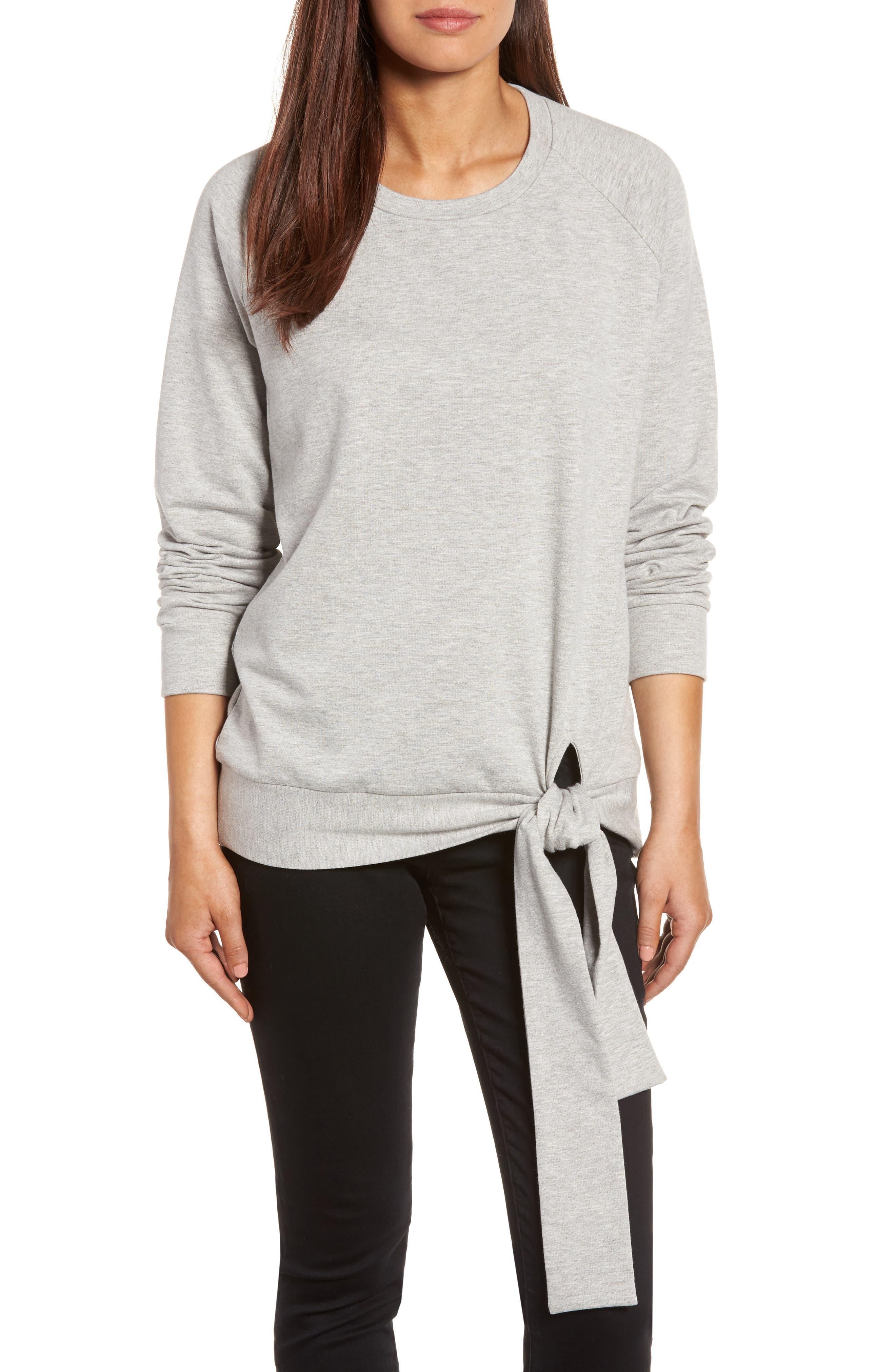 Alternate Image 1 Selected - Caslon® Tie Knot Sweatshirt (Regular & Petite)