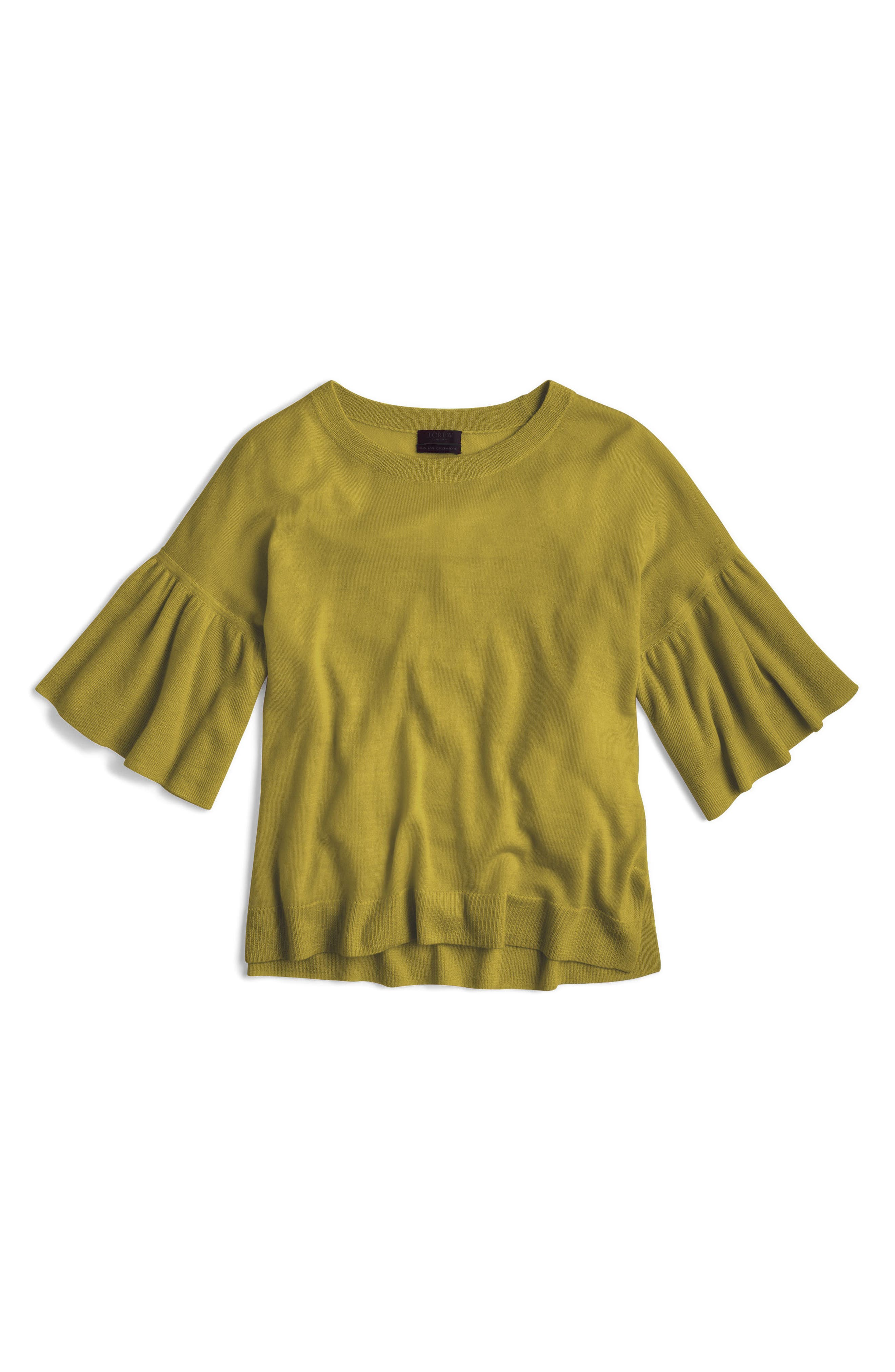 Alternate Image 1 Selected - J.Crew Featherweight Cashmere Ruffle Sleeve Sweater