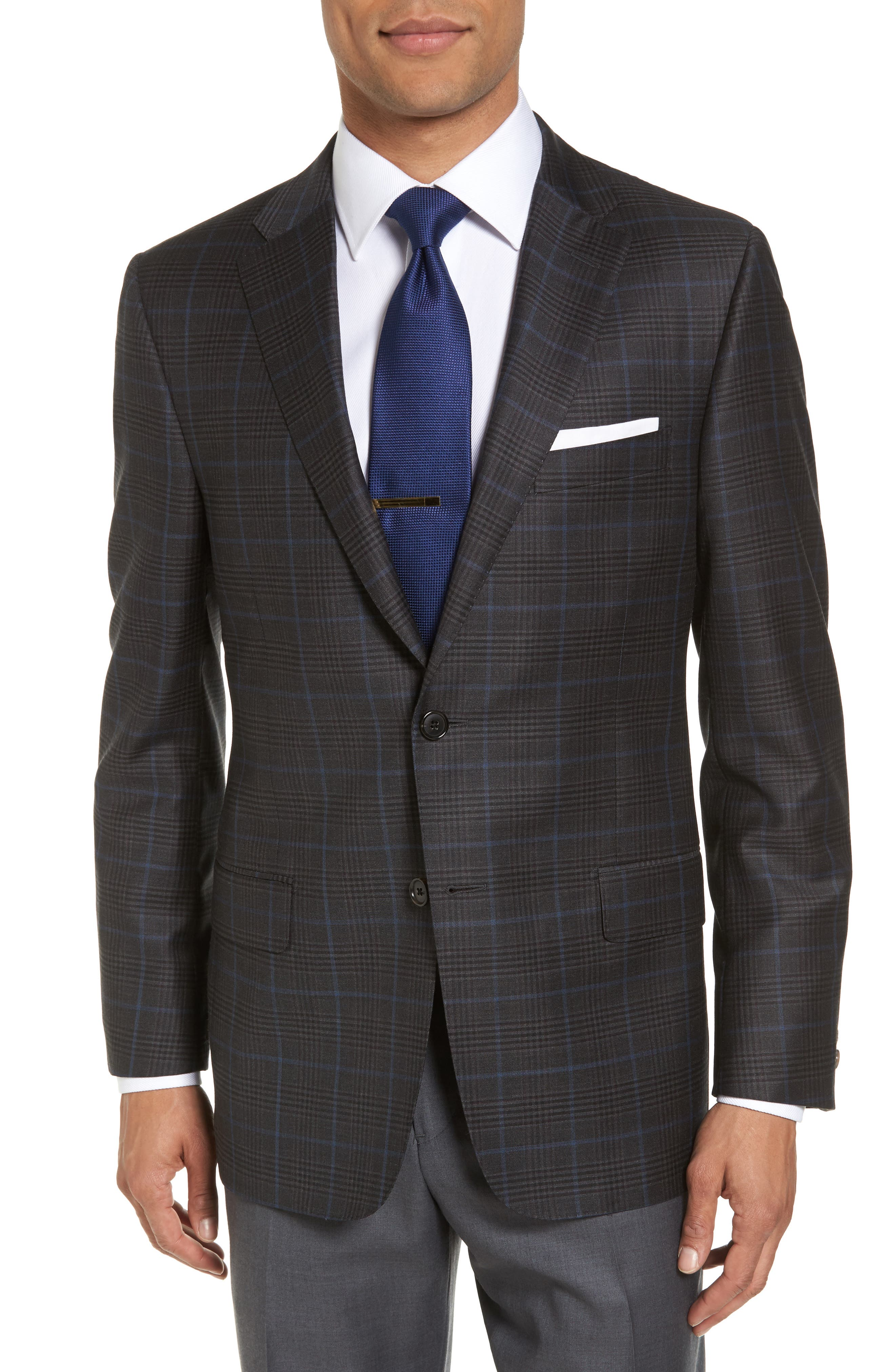 Hickey Freeman B Series Classic Fit Plaid Wool Sport Coat