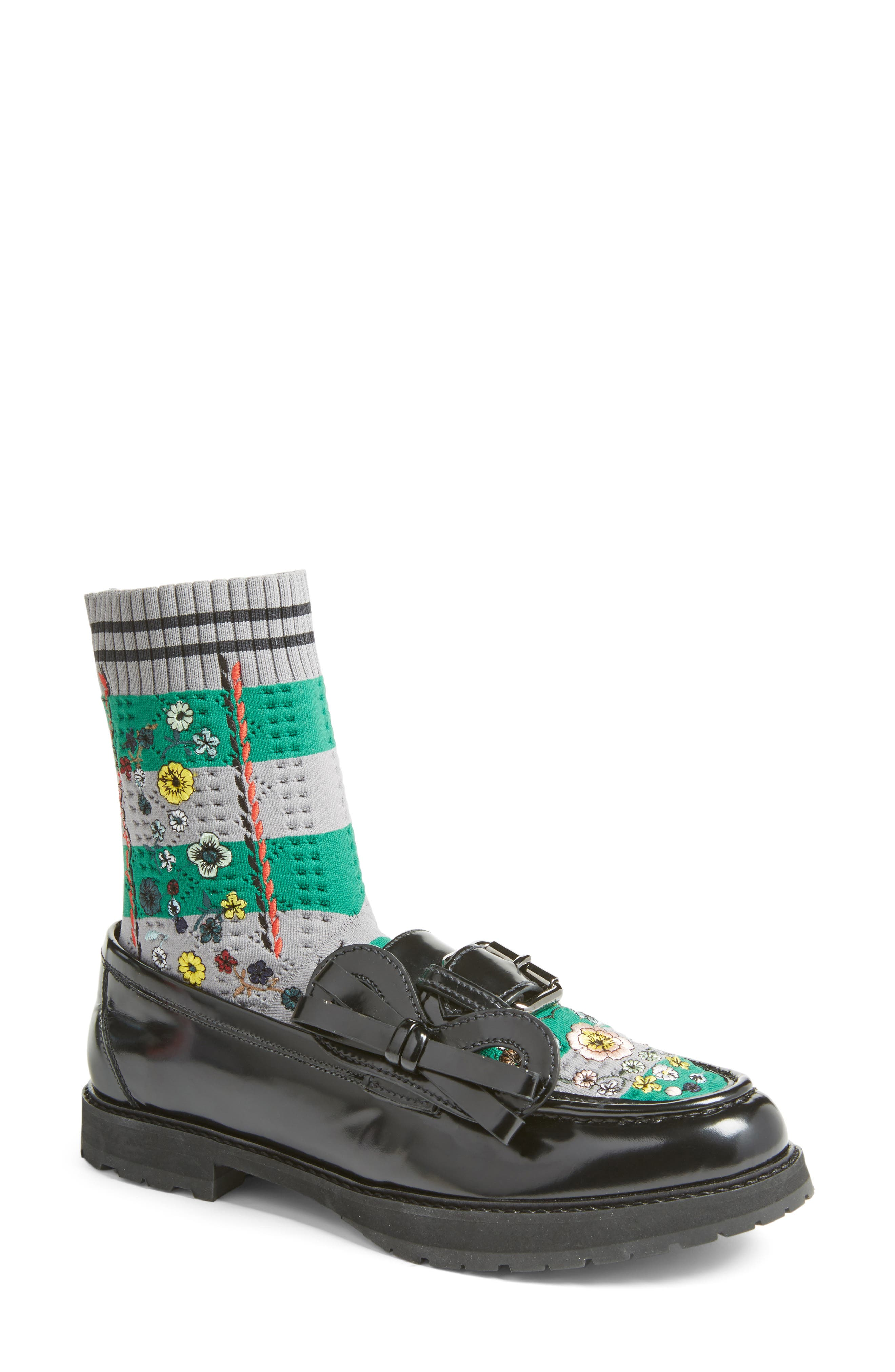 Fendi Marie Antoinette Embroidered Sock Loafer (Women)